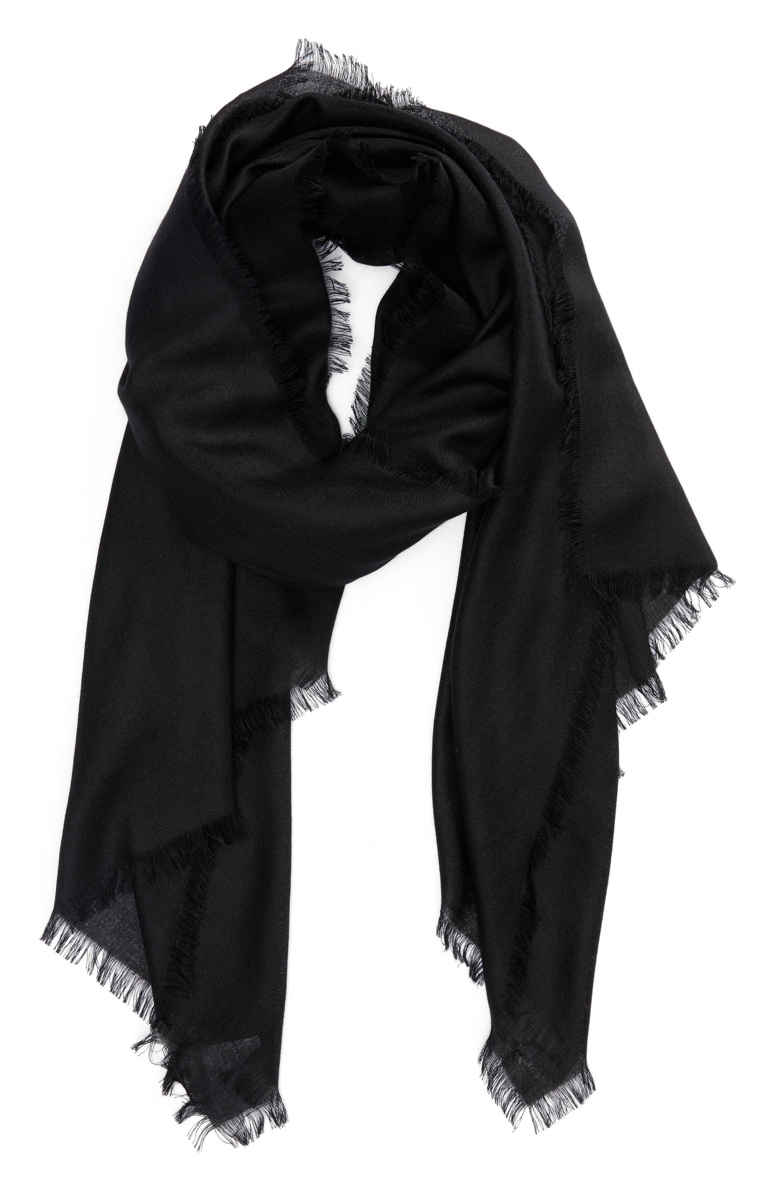 Cashmere & Silk Wrap,                             Alternate thumbnail 2, color,                             BLACK
