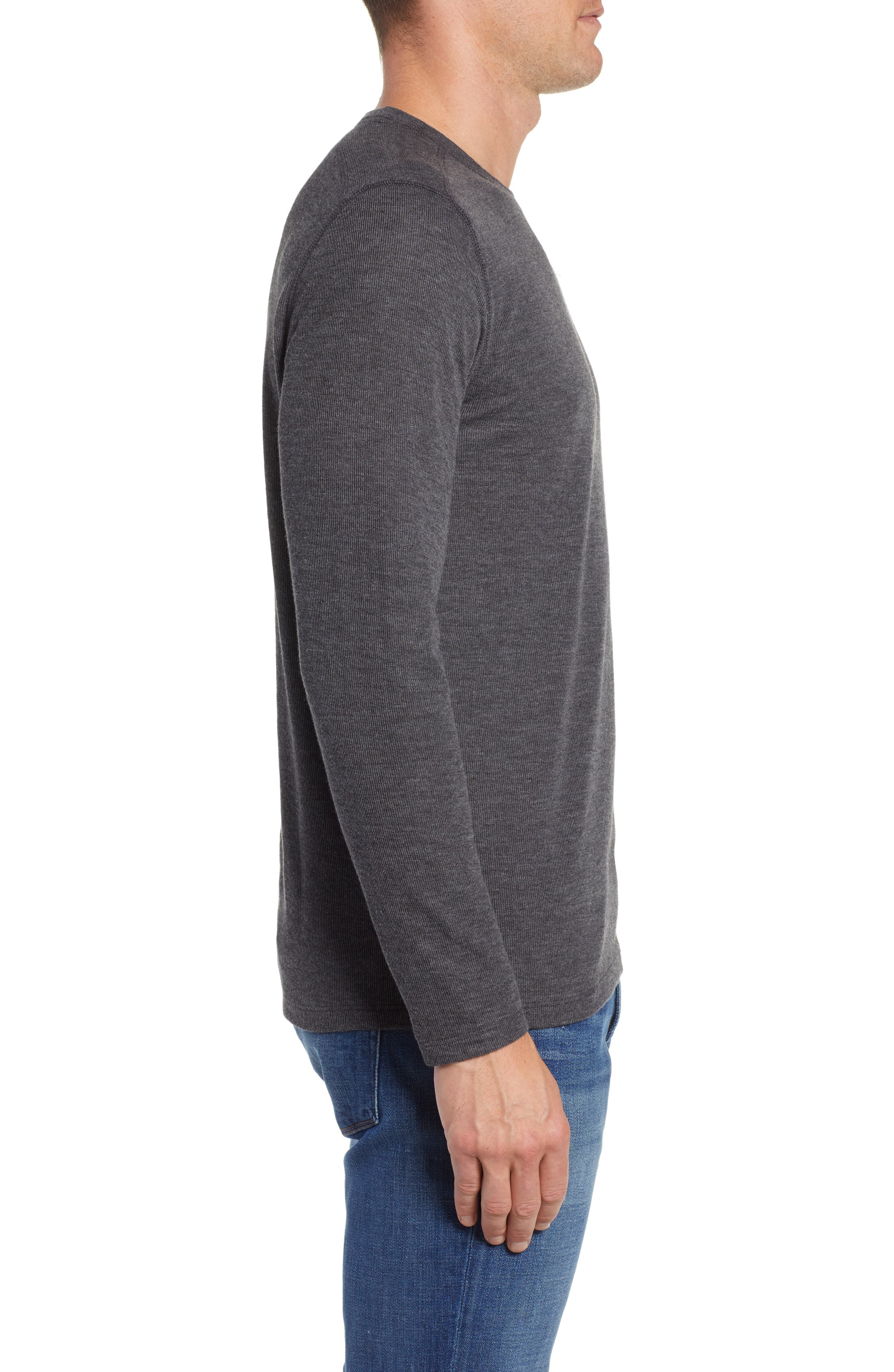 Slim Fit Ribbed Double Face T-Shirt,                             Alternate thumbnail 3, color,                             001