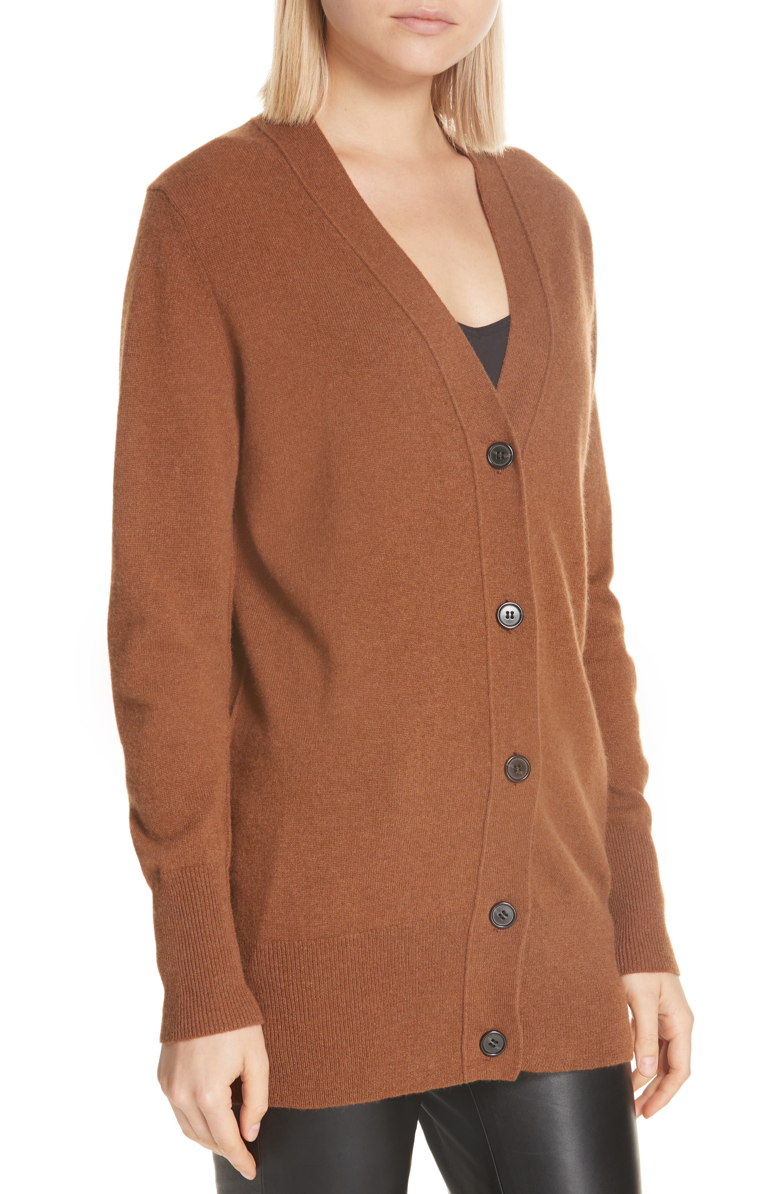 NILI LOTAN,                             Lane Cashmere Cardigan,                             Alternate thumbnail 4, color,                             COGNAC