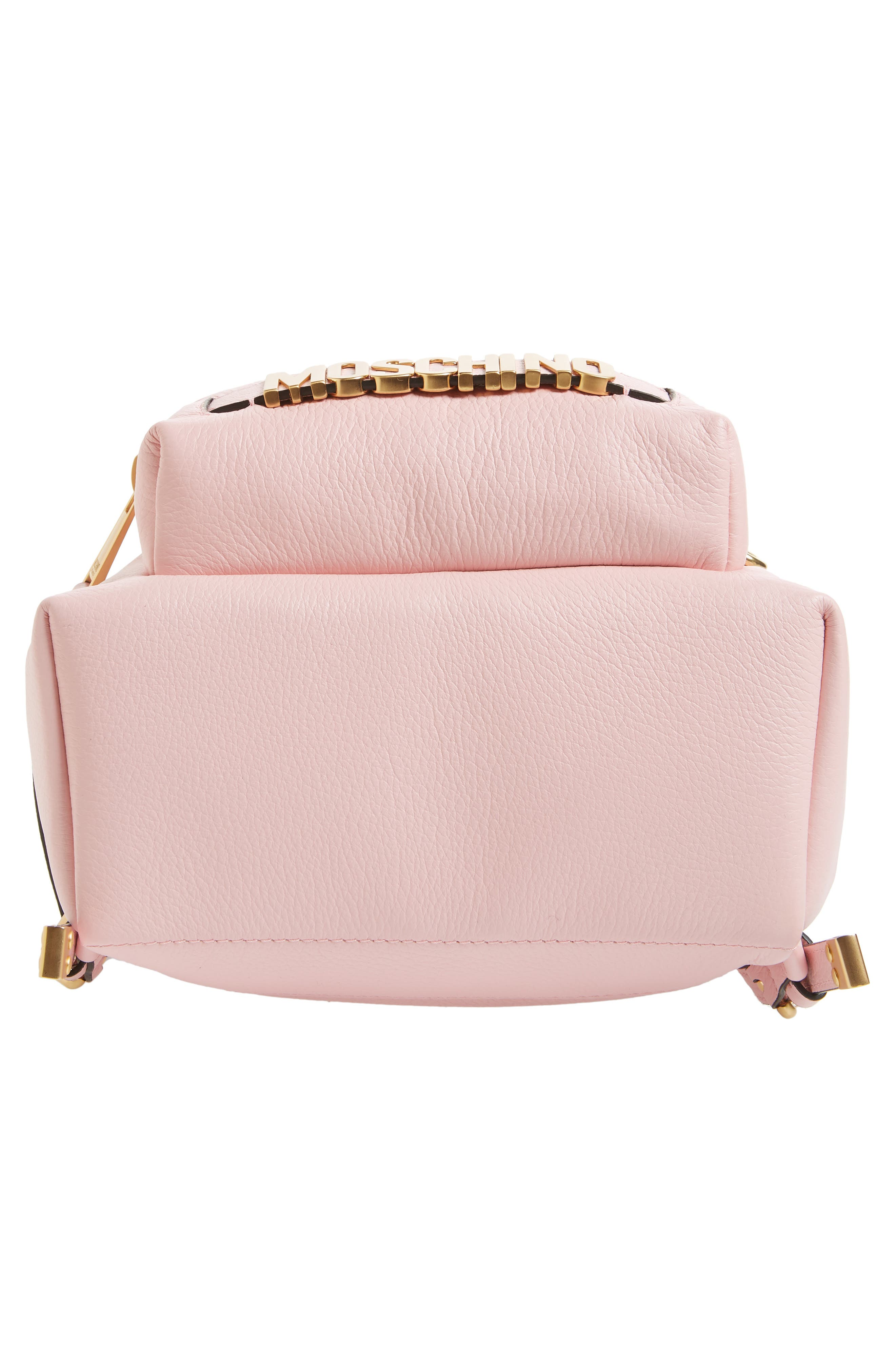 MOSCHINO,                             Logo Leather Backpack,                             Alternate thumbnail 6, color,                             PINK