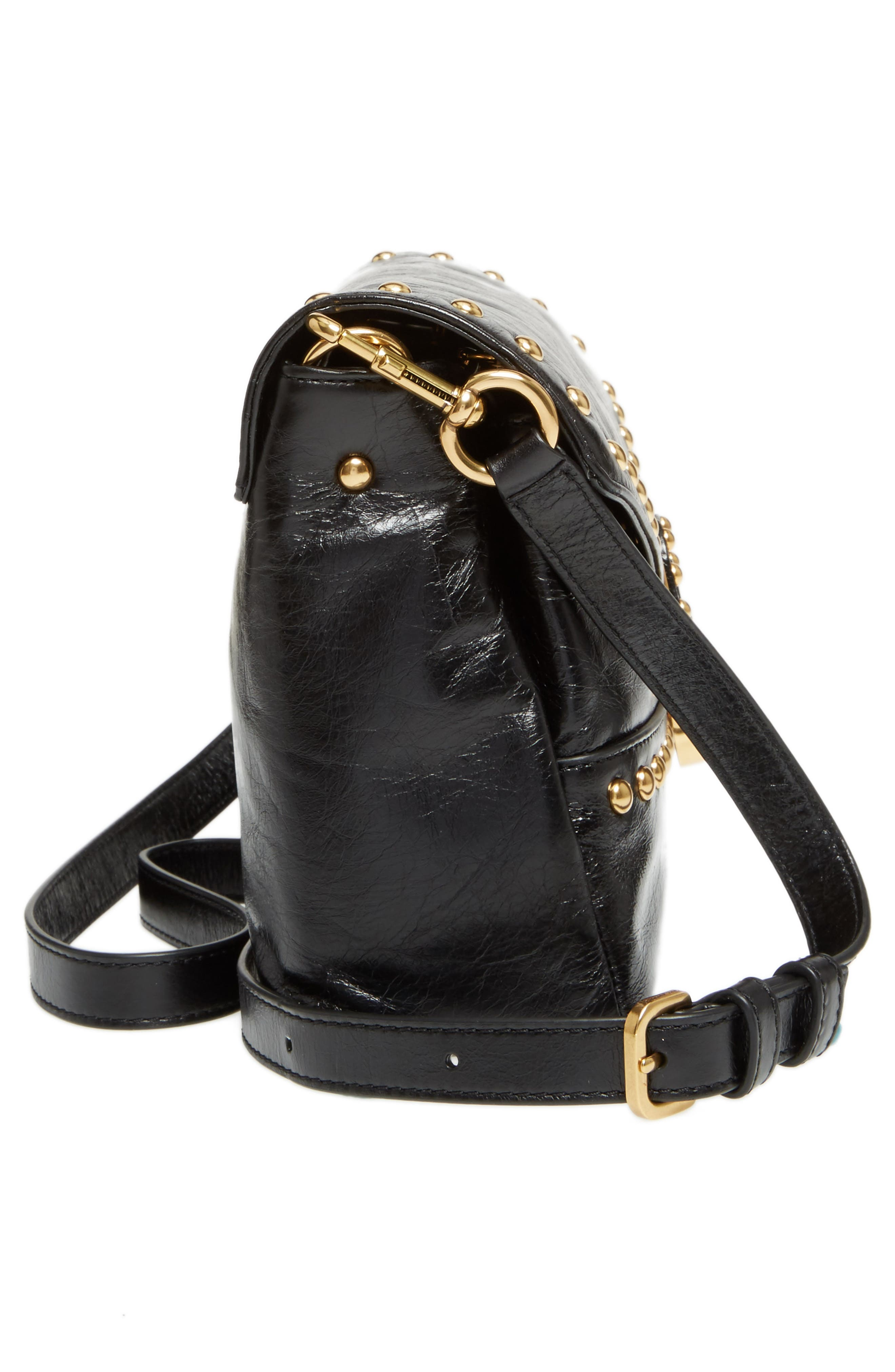 Small Studded Leather Envelope Bag,                             Alternate thumbnail 5, color,                             001