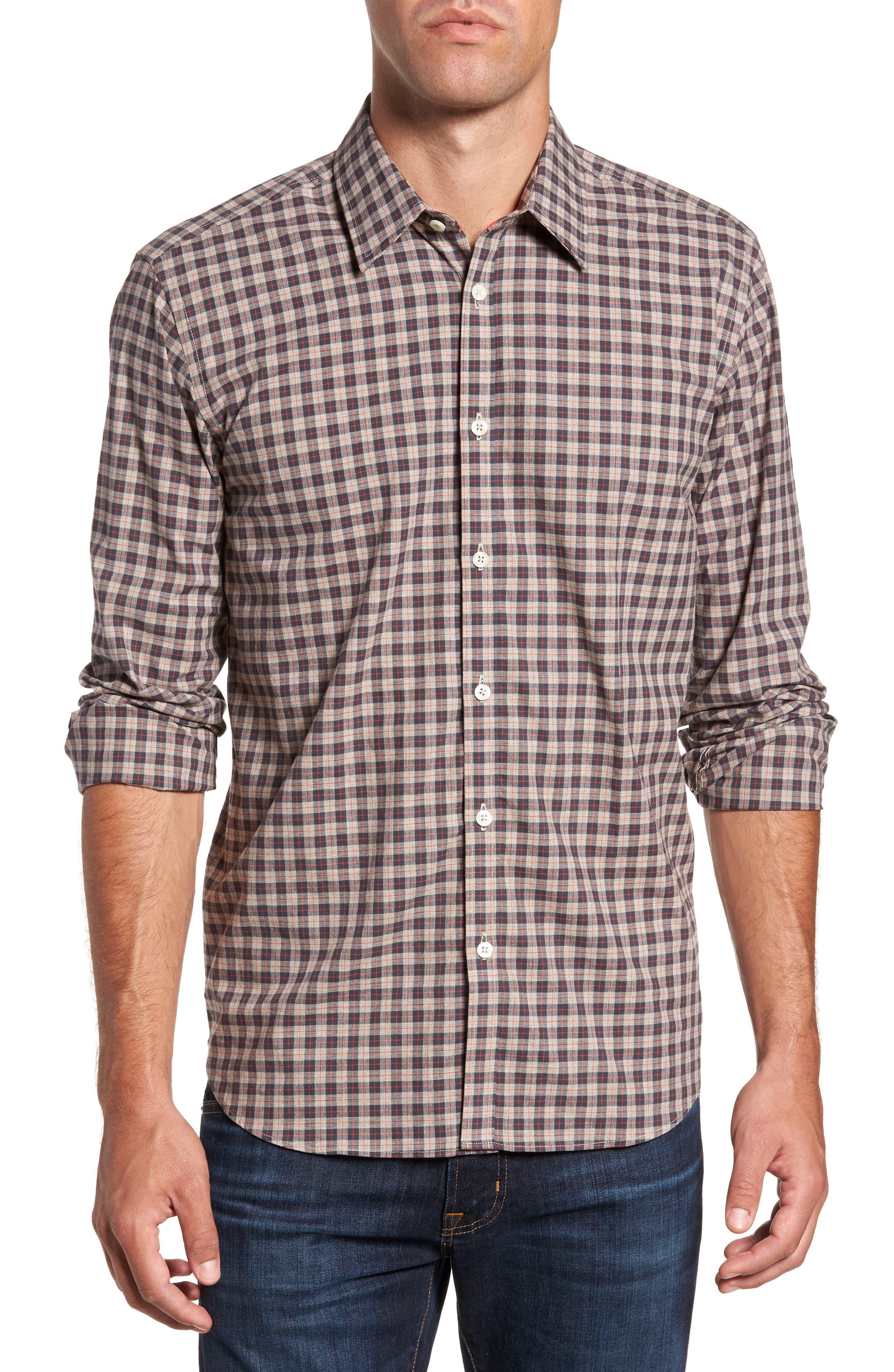 Comfort Fit Plaid Sport Shirt,                         Main,                         color, 214