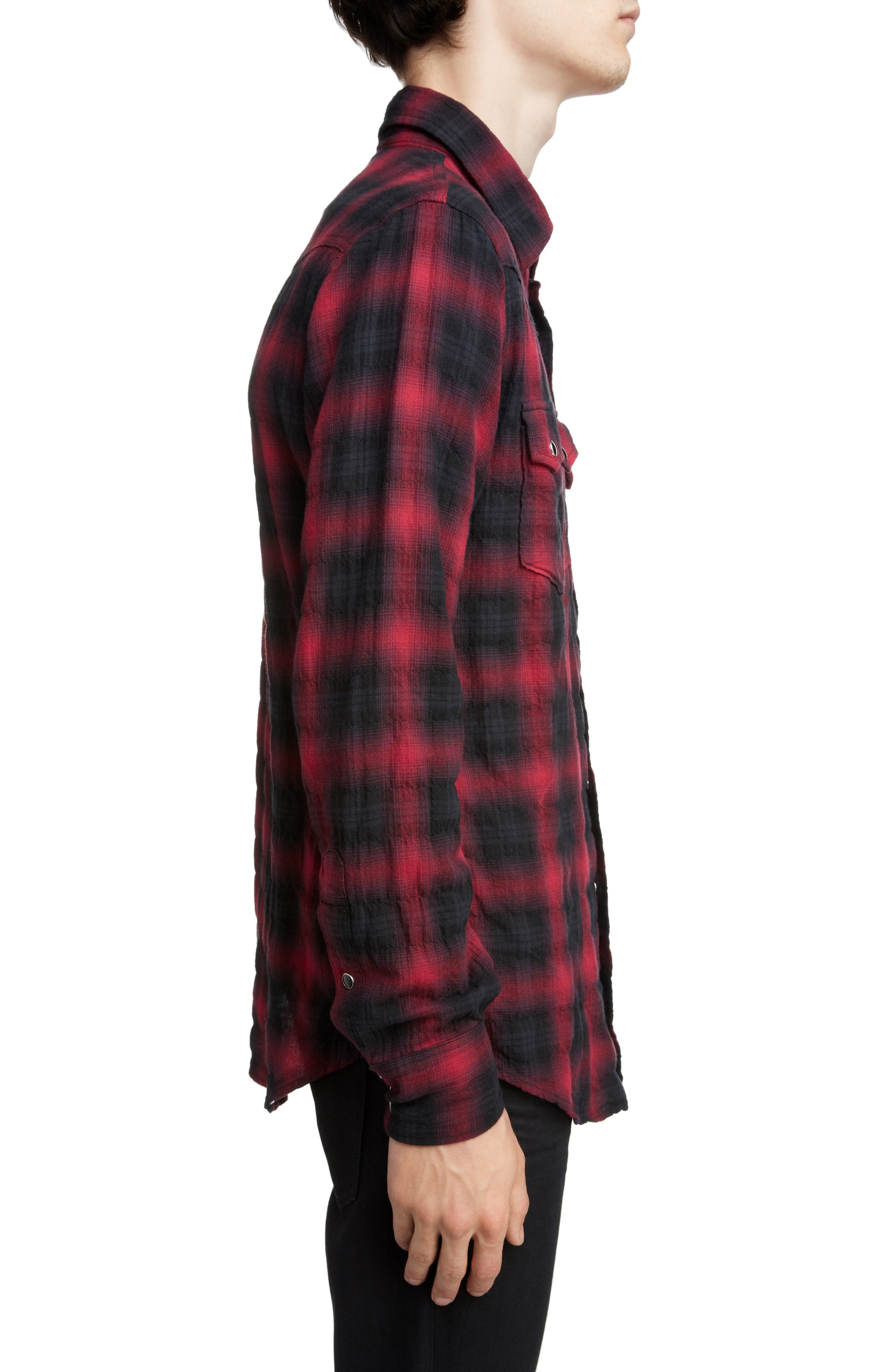 Classic Fit Check Western Shirt,                             Alternate thumbnail 4, color,                             BLACK AND RED CHECK