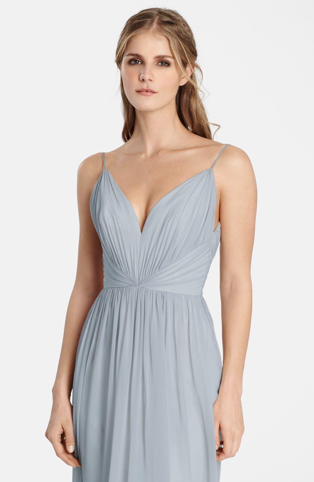 Draped V-Neck Chiffon Gown,                             Alternate thumbnail 2, color,                             040
