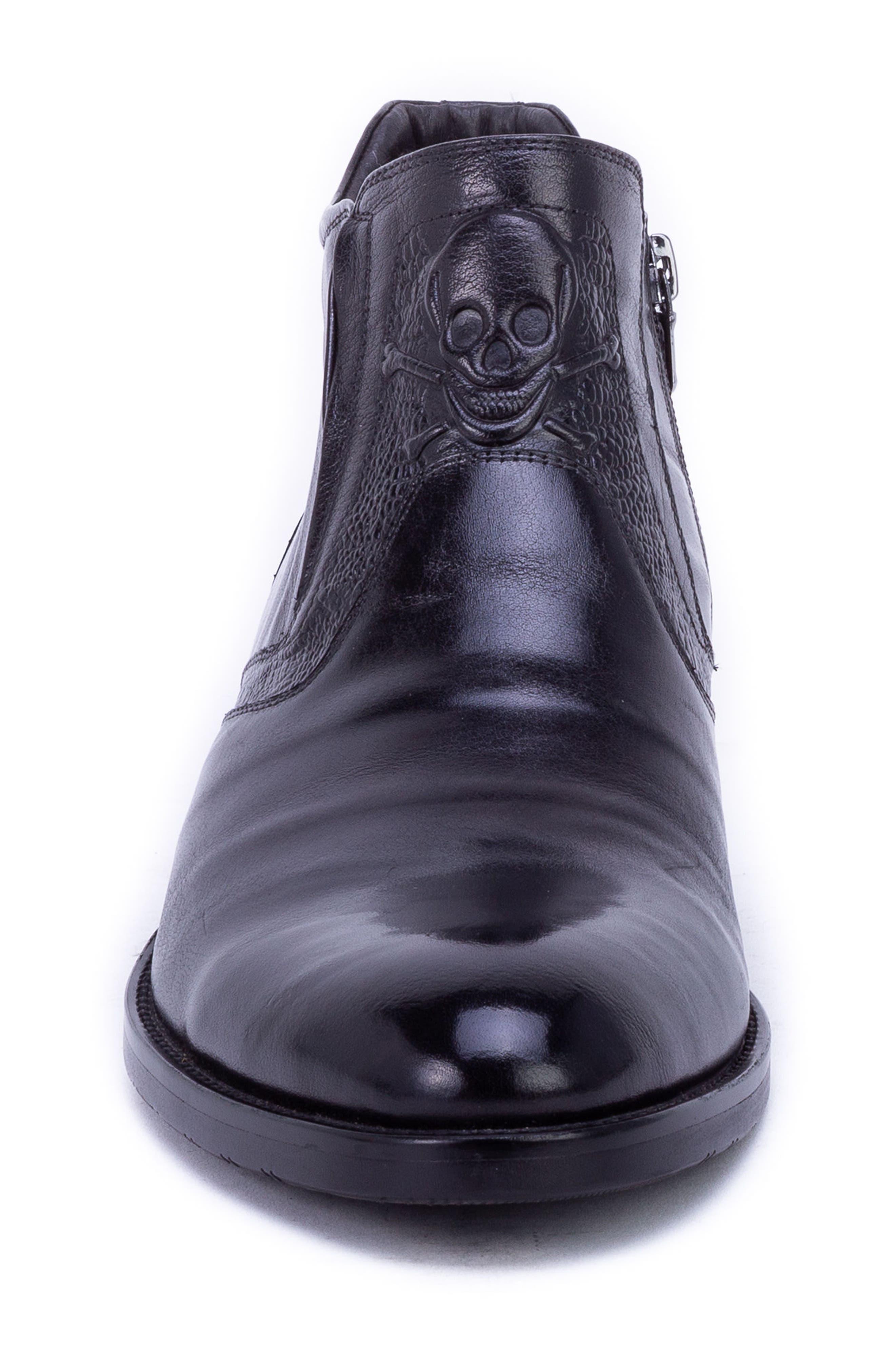Gordon Skull Embossed Boot,                             Alternate thumbnail 4, color,                             BLACK LEATHER