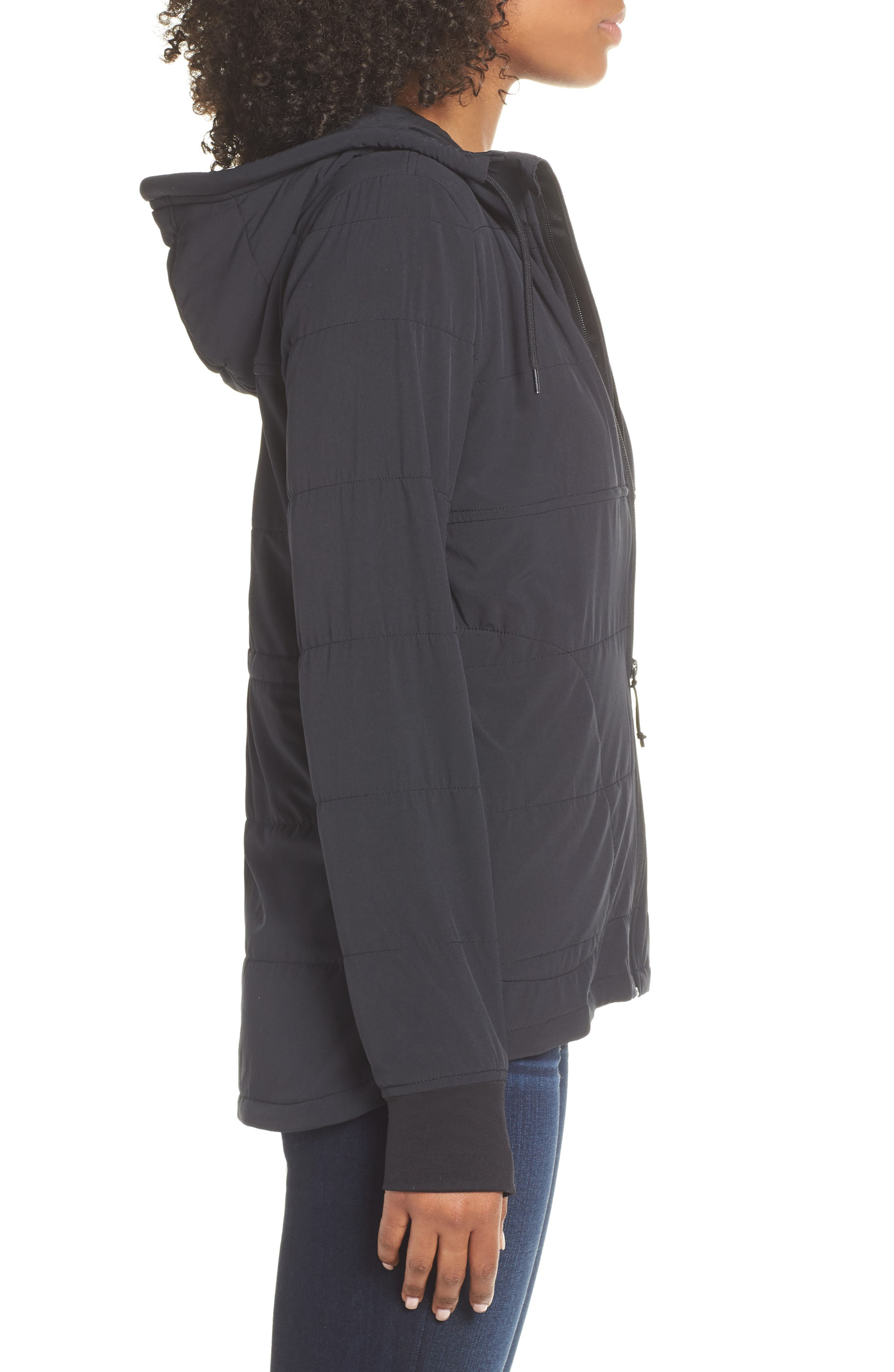 THE NORTH FACE,                             Mountain Insulated Zip Hooded Jacket,                             Alternate thumbnail 4, color,                             TNF BLACK