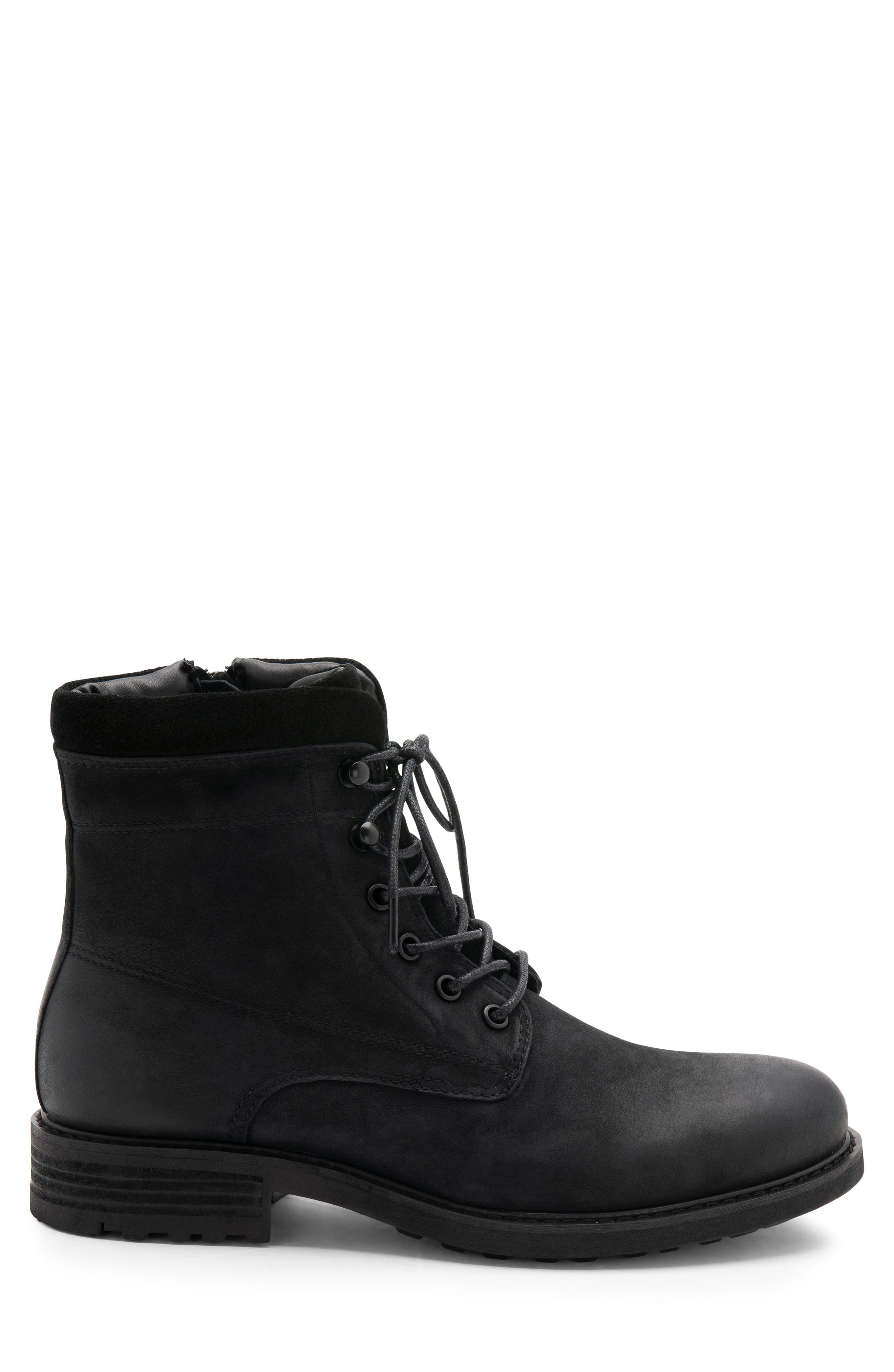 Patton Waterproof Plain Toe Boot,                             Alternate thumbnail 3, color,                             BLACK NUBUCK