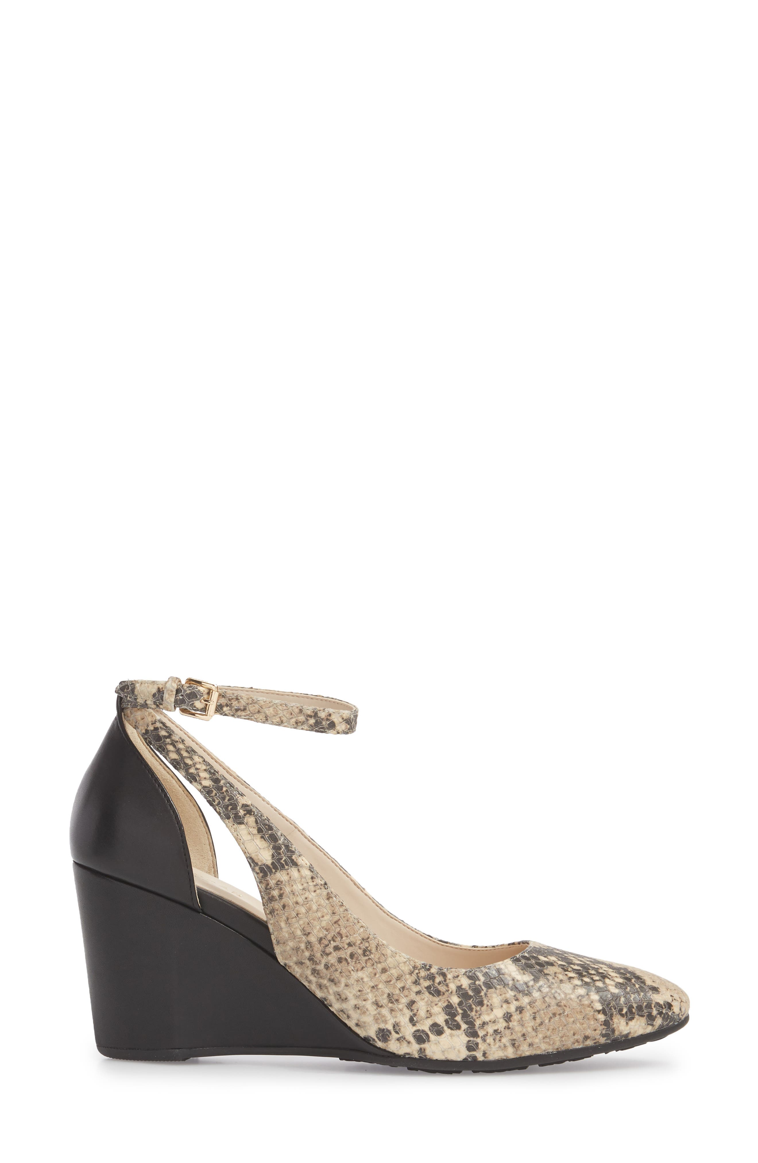 Lacey Cutout Wedge Pump,                             Alternate thumbnail 3, color,                             SNAKE PRINT LEATHER