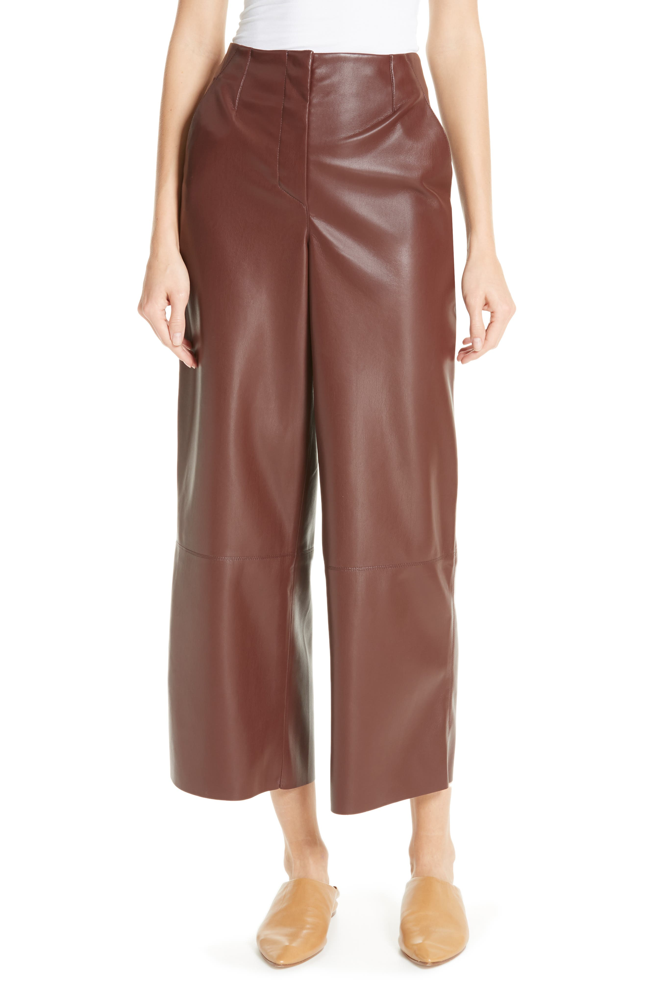 Africa Faux Leather Wide Leg Crop Pants,                         Main,                         color, PLUM CHUTNEY