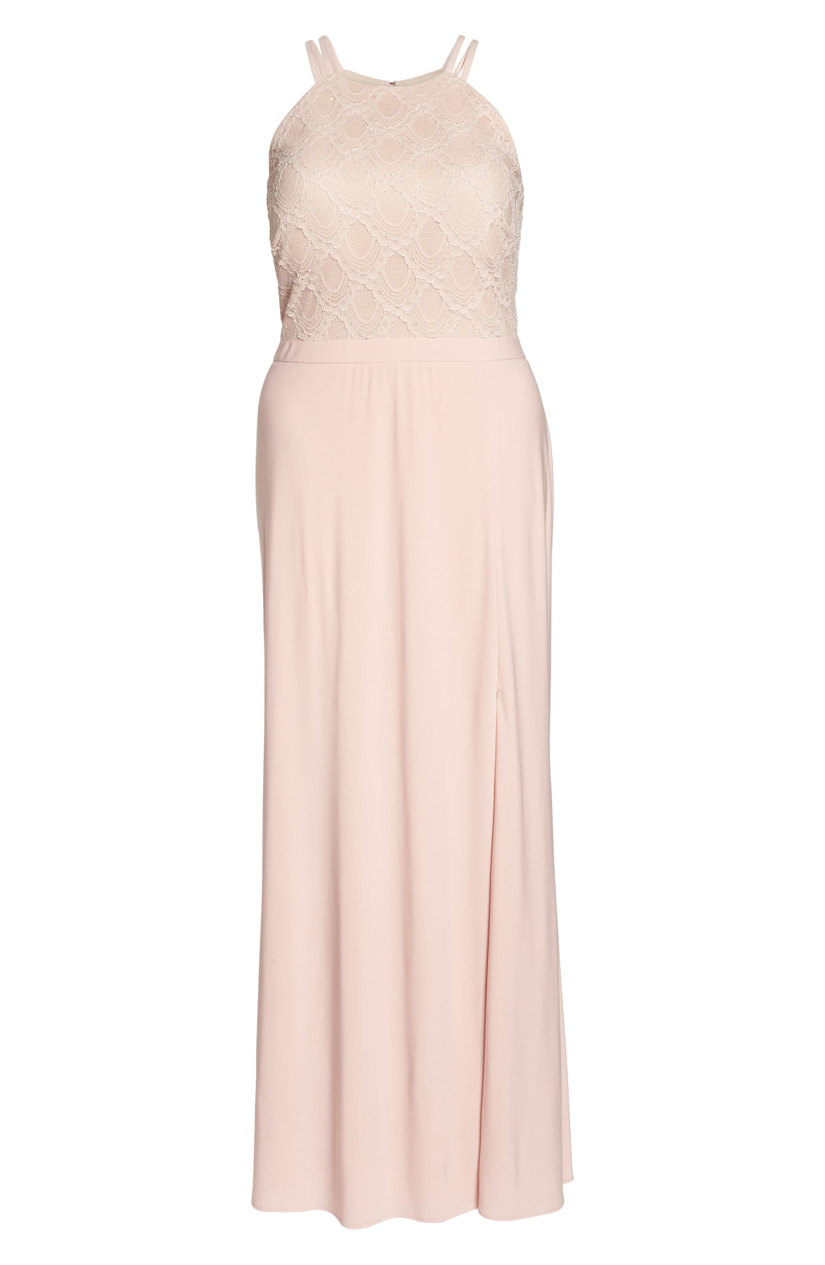 Lace Bodice Gown,                             Alternate thumbnail 6, color,                             BLUSH/ NUDE