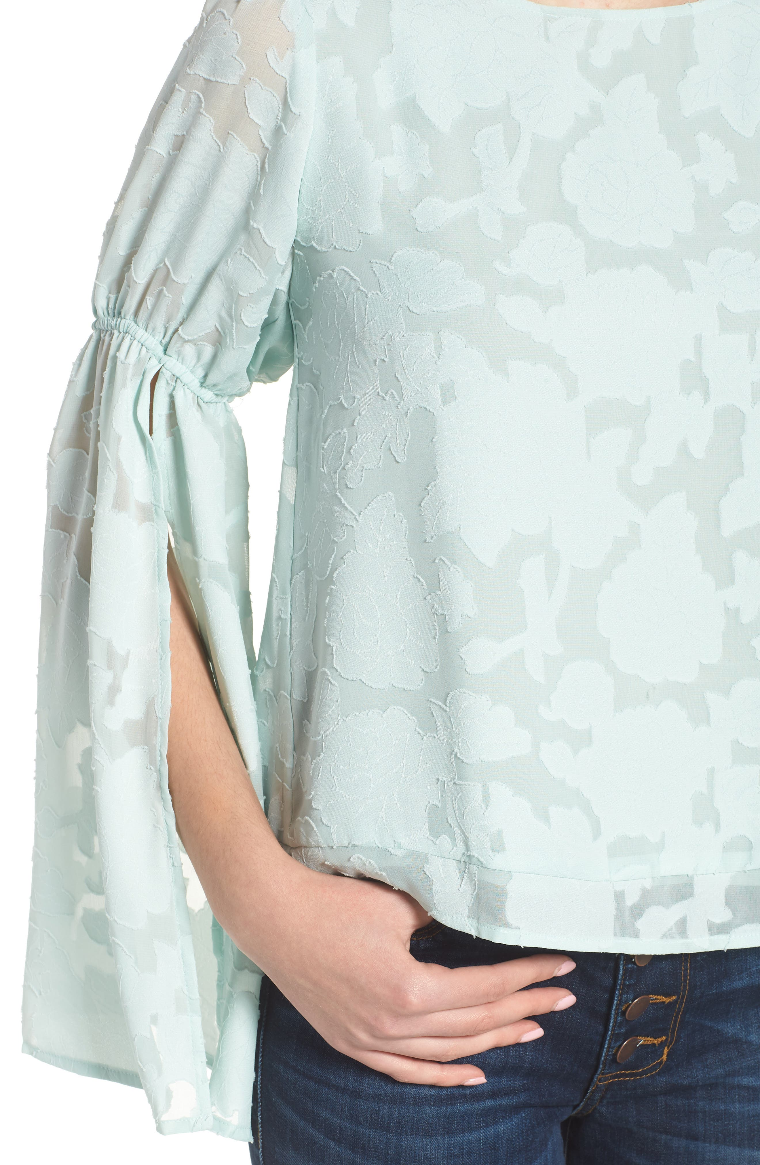 Puff Flared Sleeve Blouse,                             Alternate thumbnail 4, color,                             445