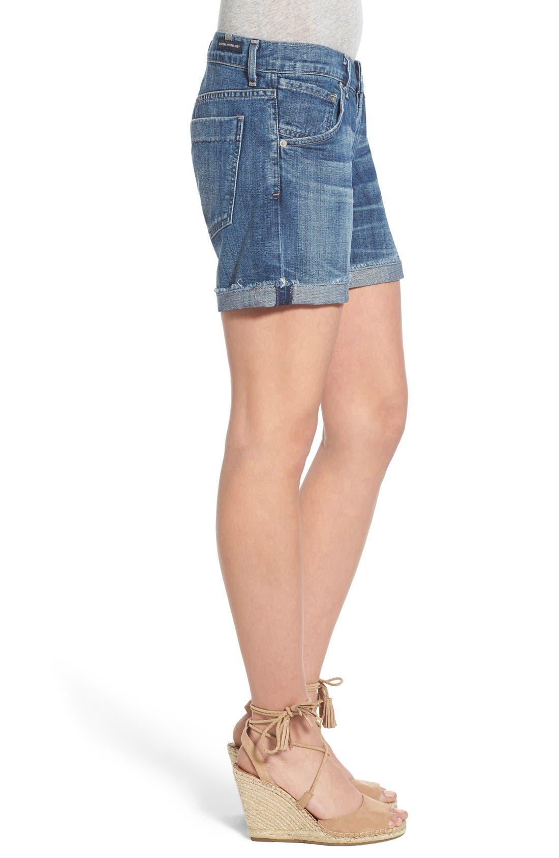 'Skyler' Cutoff Denim Shorts,                             Alternate thumbnail 3, color,