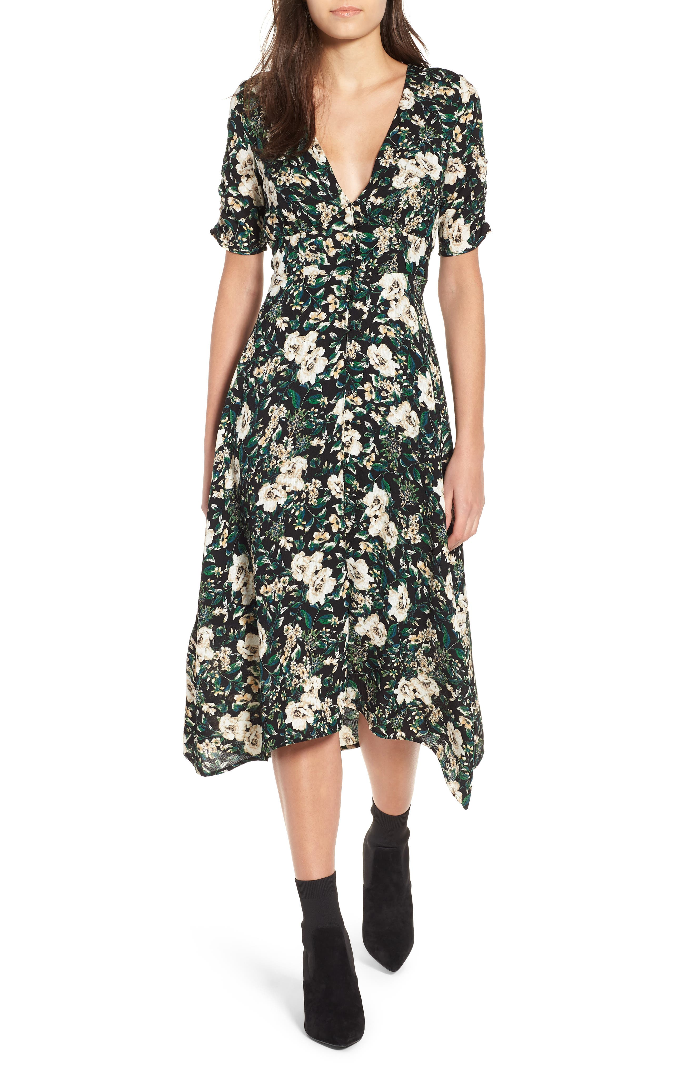 Button Front Midi Dress,                         Main,                         color, GREEN IVORY FLORAL