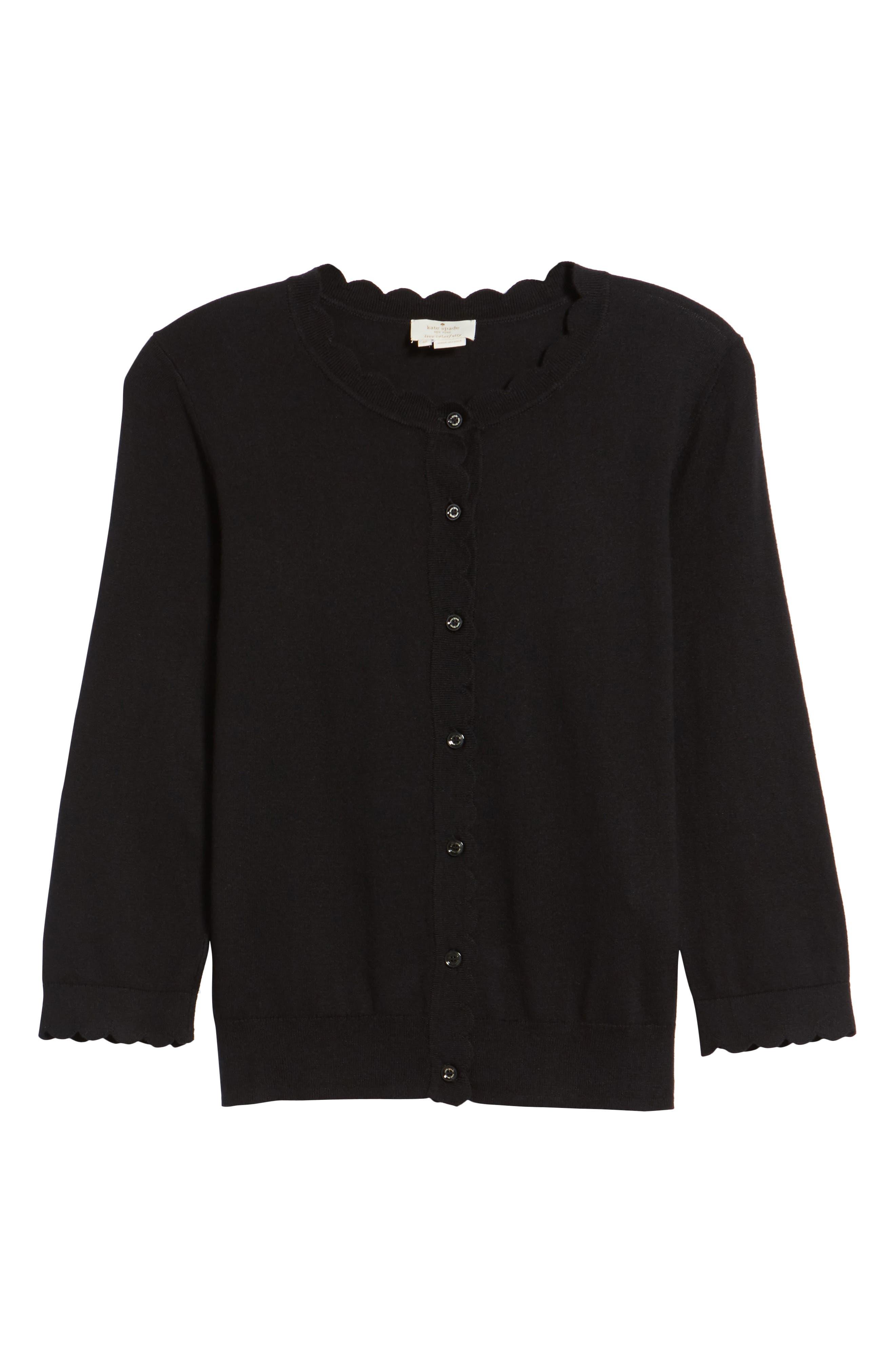 scallop silk blend cardigan,                             Alternate thumbnail 6, color,                             BLACK