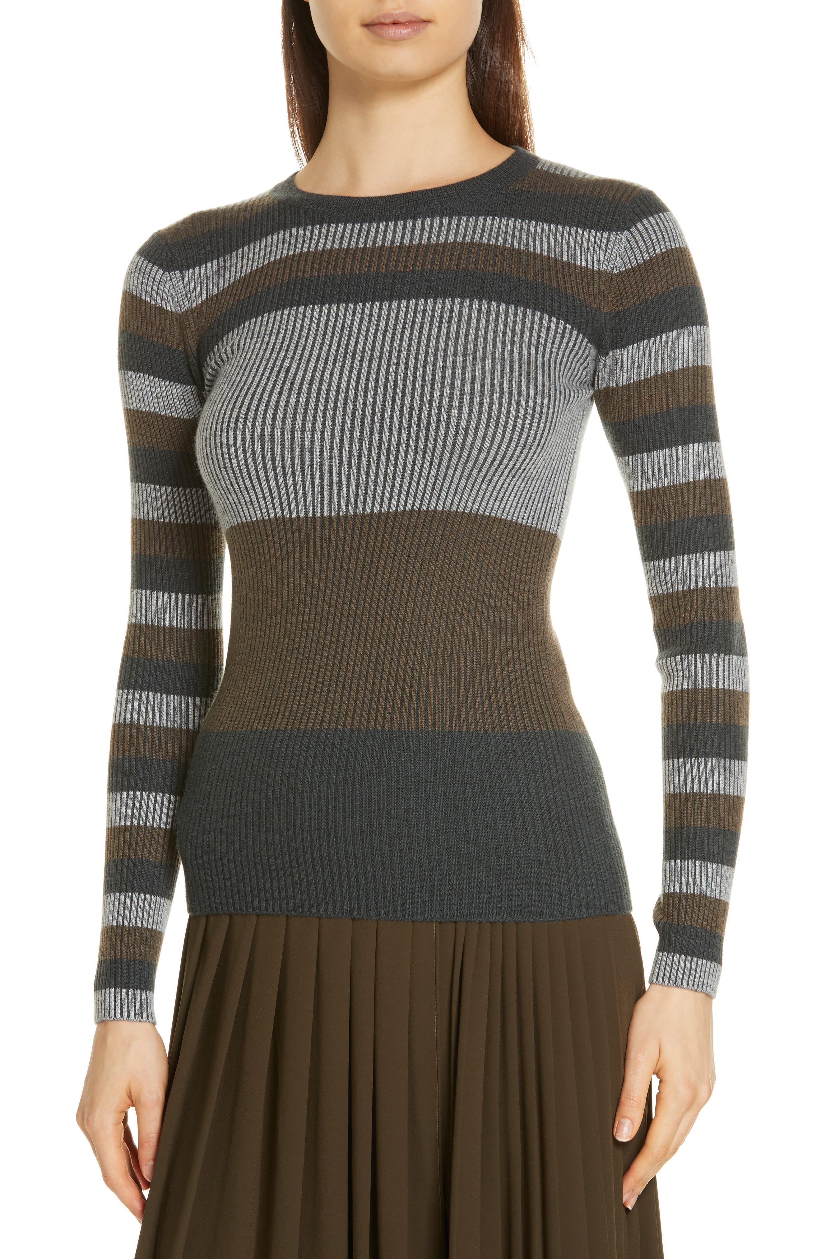 NORDSTROM SIGNATURE,                             Stripe Cashmere Sweater,                             Alternate thumbnail 4, color,                             315