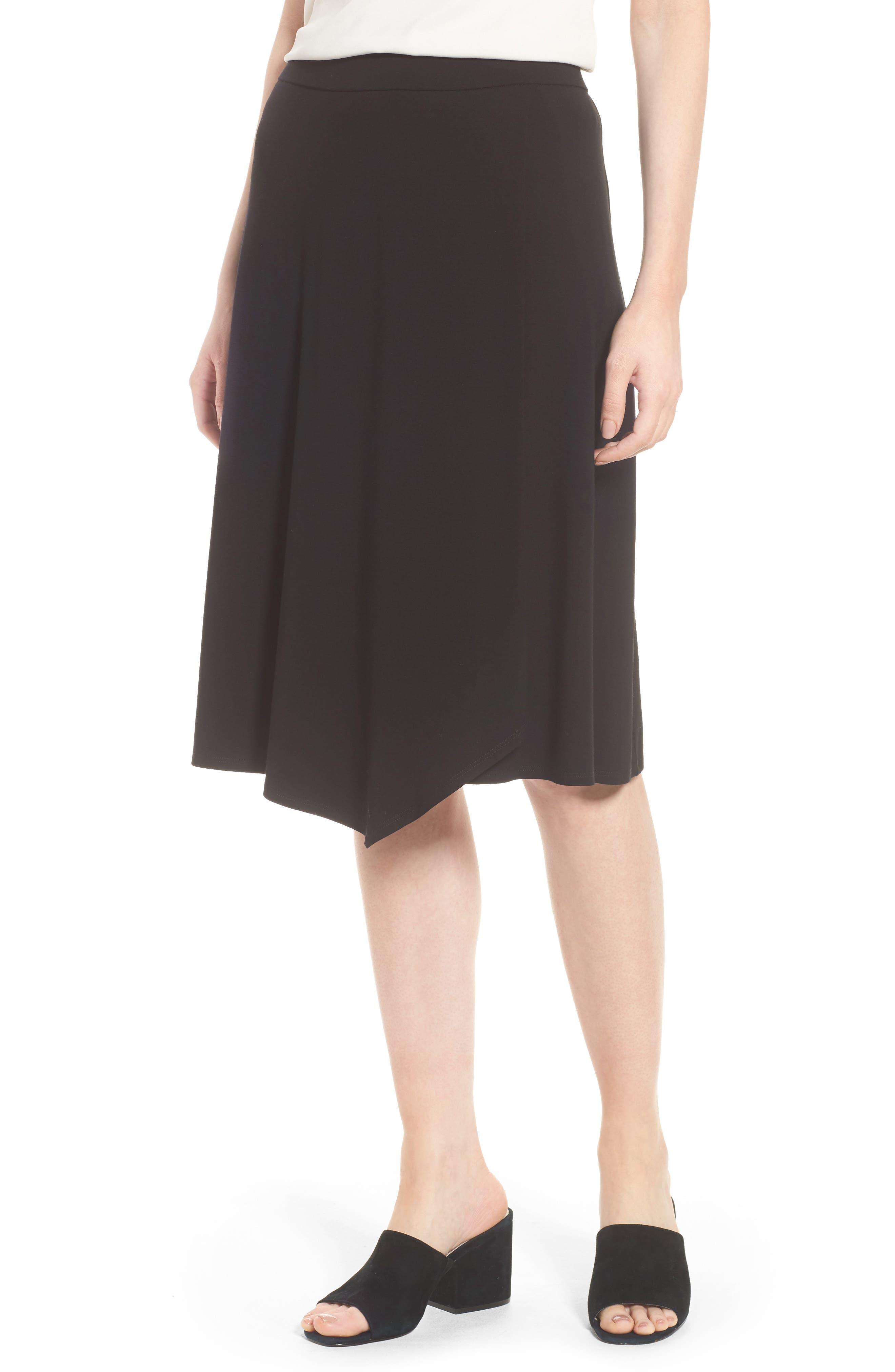 Faux Wrap Jersey Skirt,                             Main thumbnail 1, color,                             001