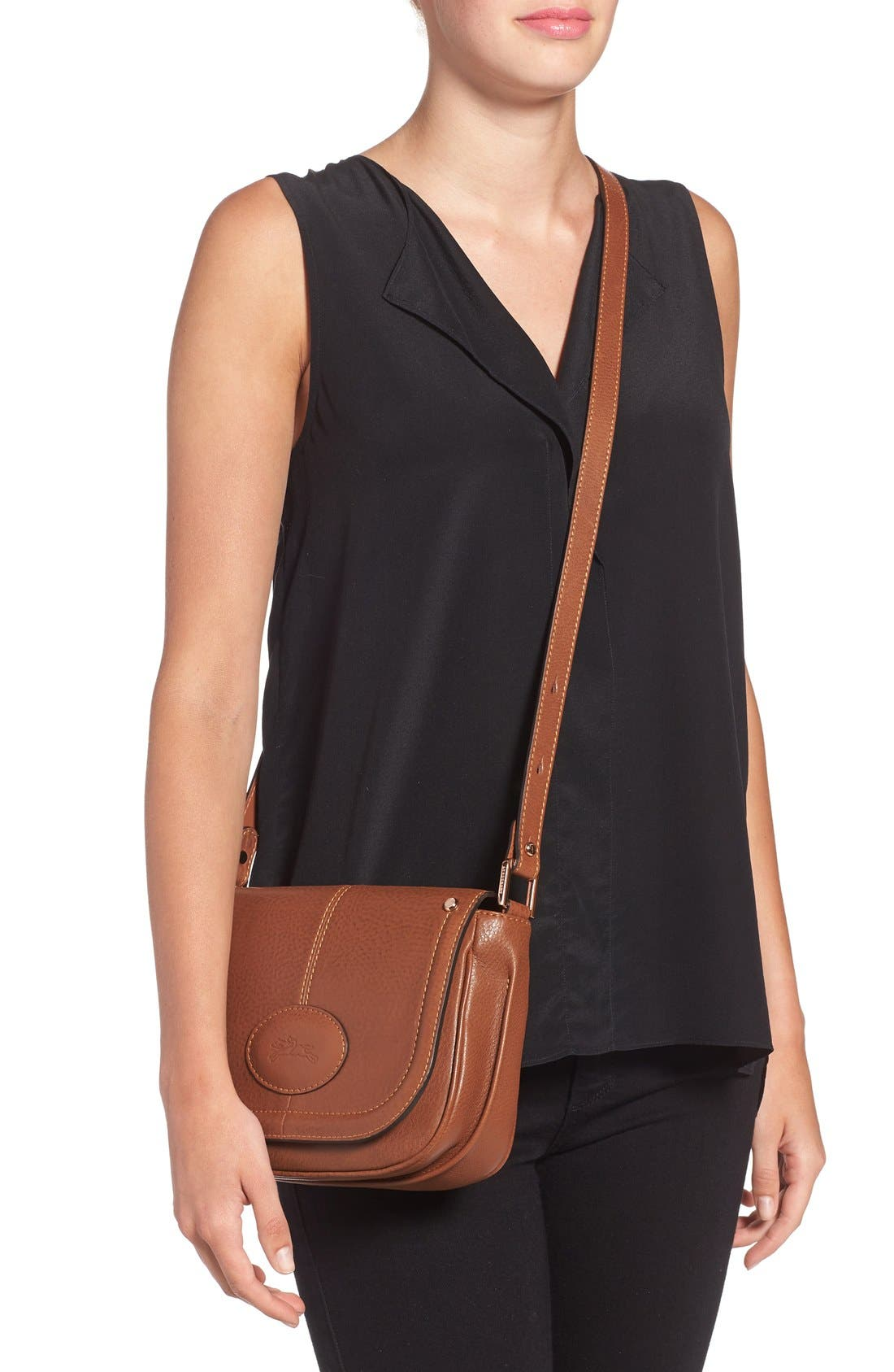 'Small Mystery' Leather Crossbody Bag,                             Alternate thumbnail 3, color,
