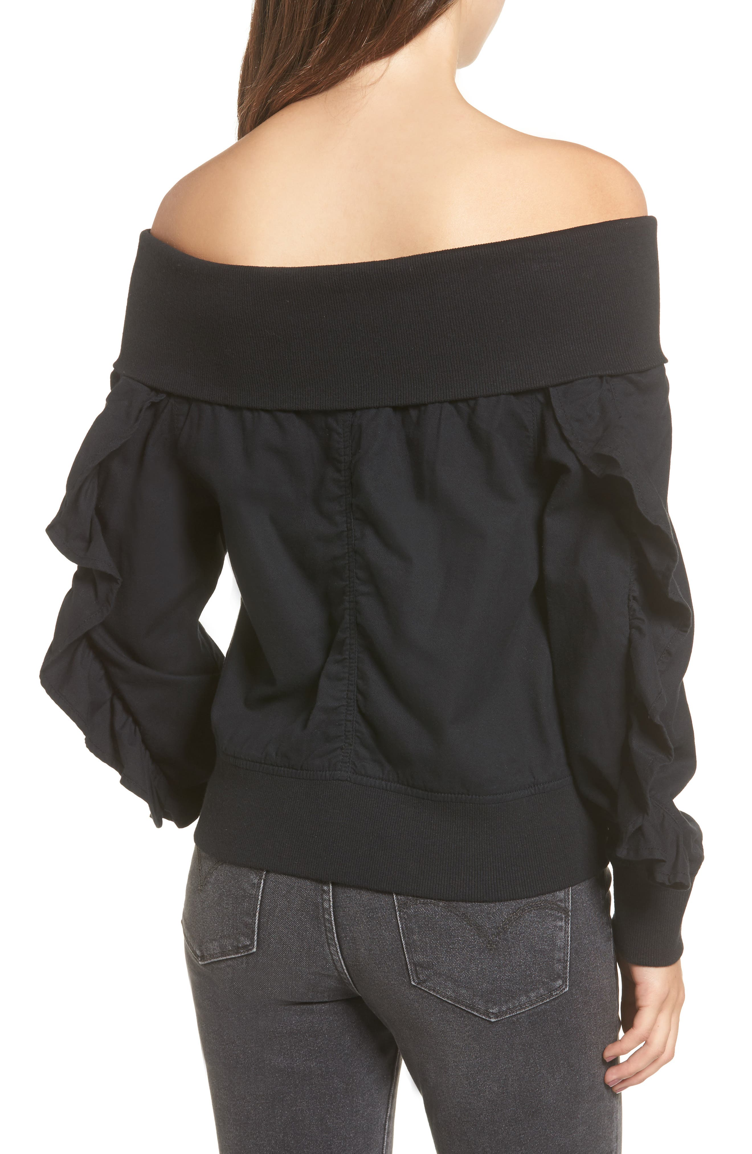 Ruffle Off the Shoulder Bomber,                             Alternate thumbnail 2, color,                             001