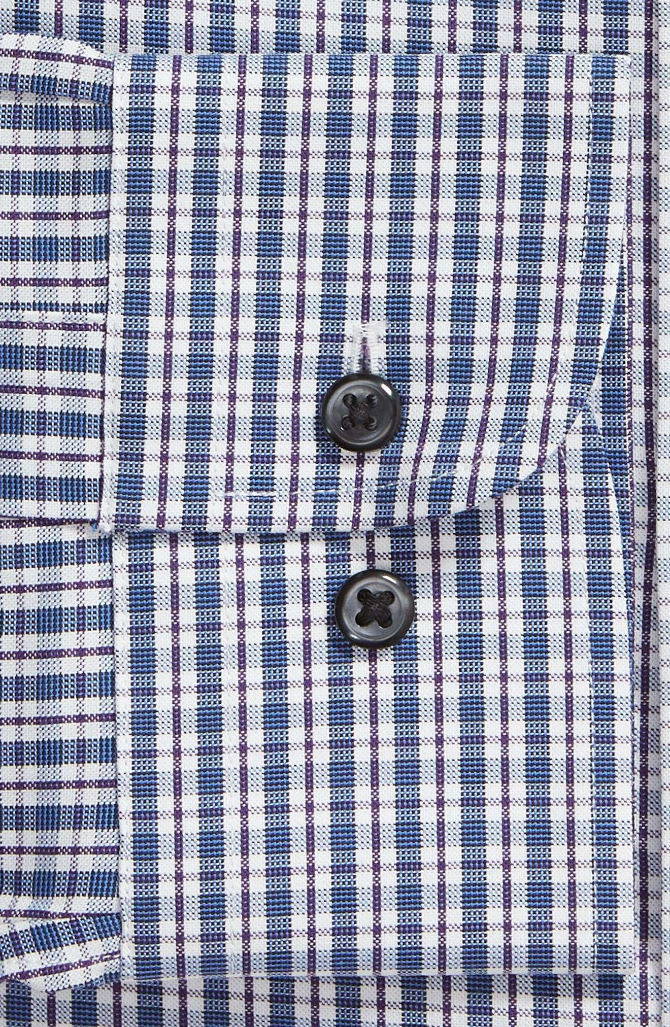 Tech-Smart Traditional Fit Plaid Stretch Dress Shirt,                             Alternate thumbnail 6, color,                             NAVY DUSK