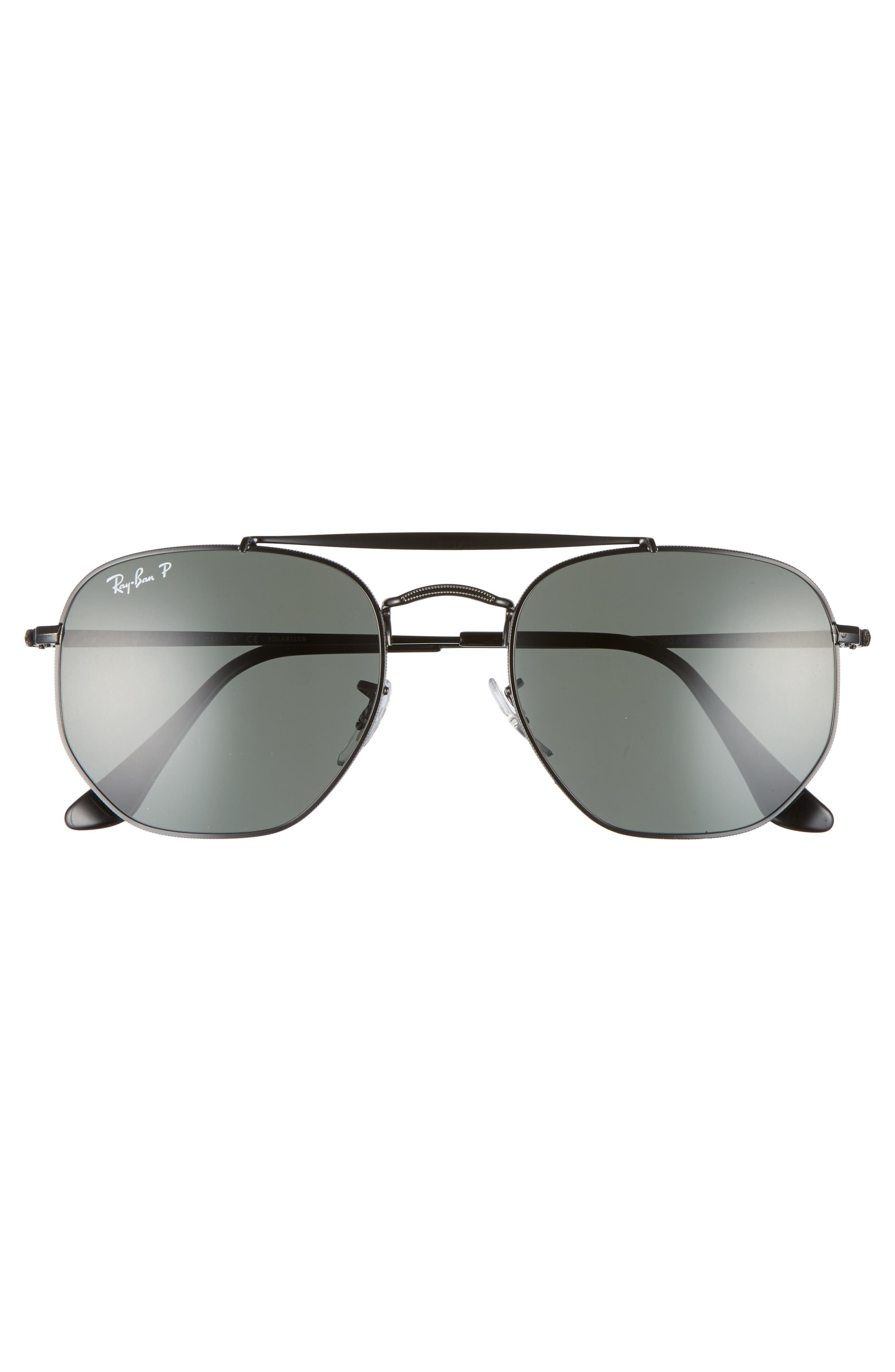 Marshal 54mm Polarized Aviator Sunglasses,                             Alternate thumbnail 2, color,                             BLACK POLARIZED