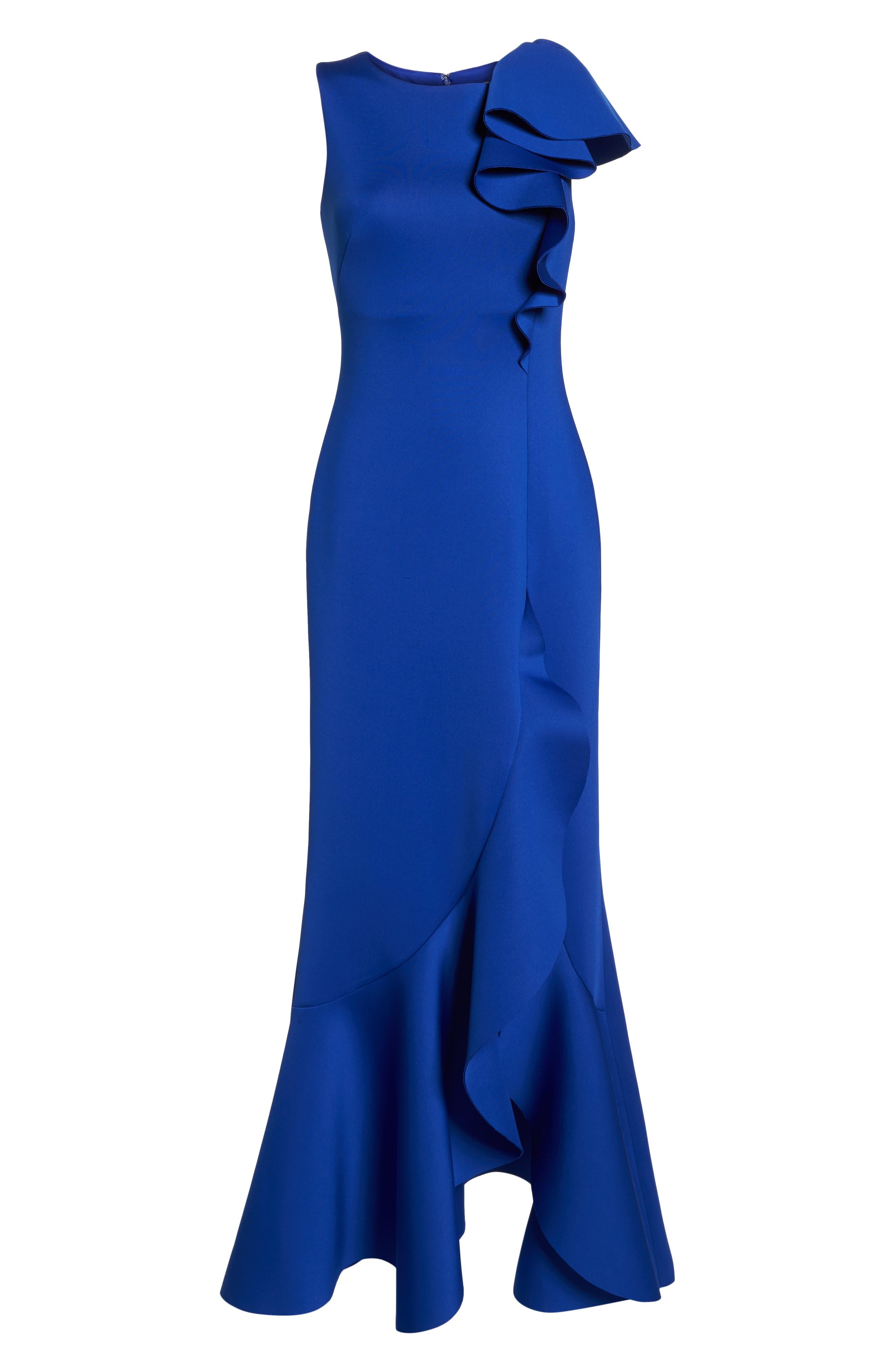 Asymmetric Ruffle Gown,                             Alternate thumbnail 7, color,                             ROYAL
