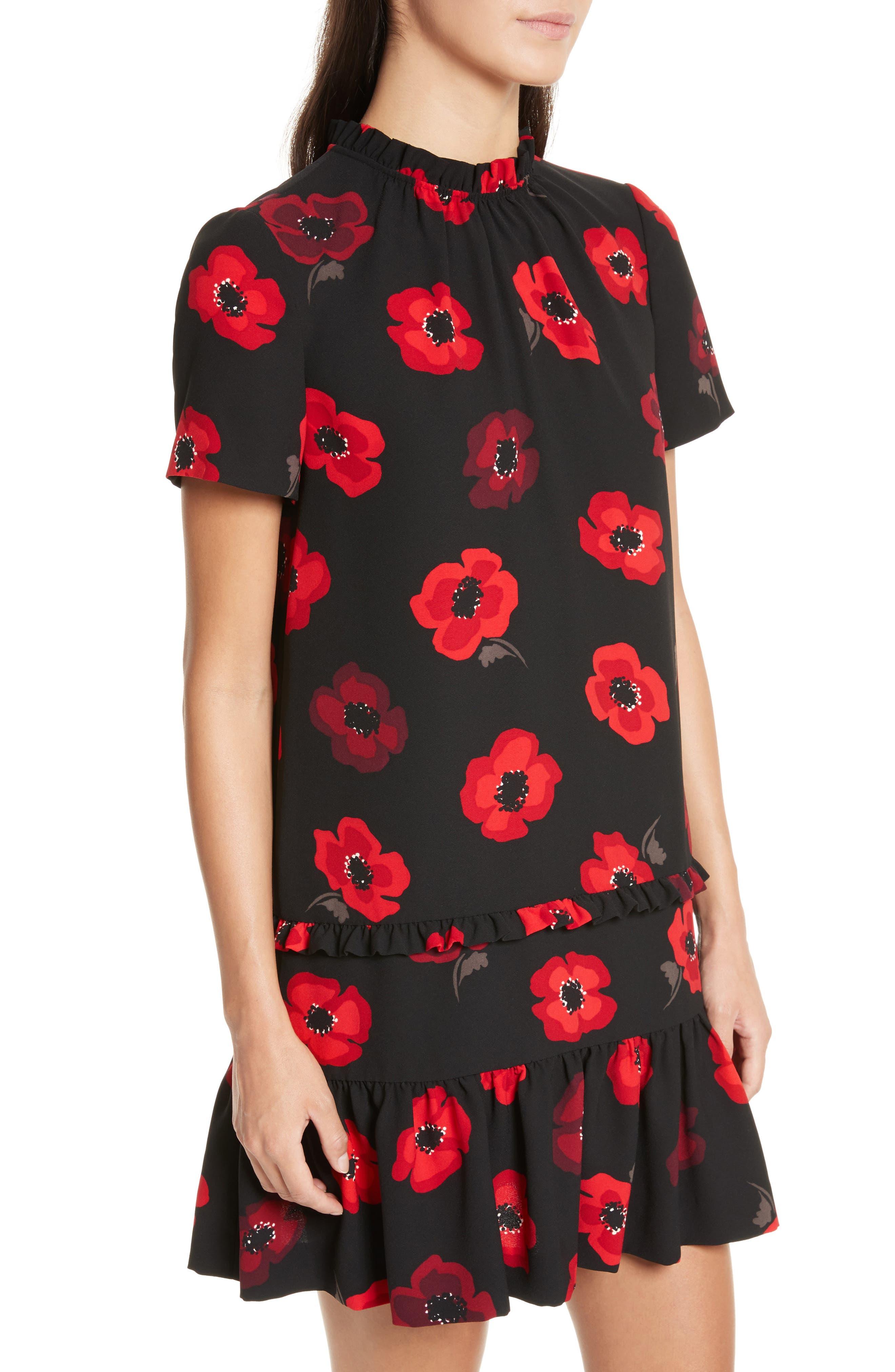 ruffle poppy shift dress,                             Alternate thumbnail 4, color,                             006