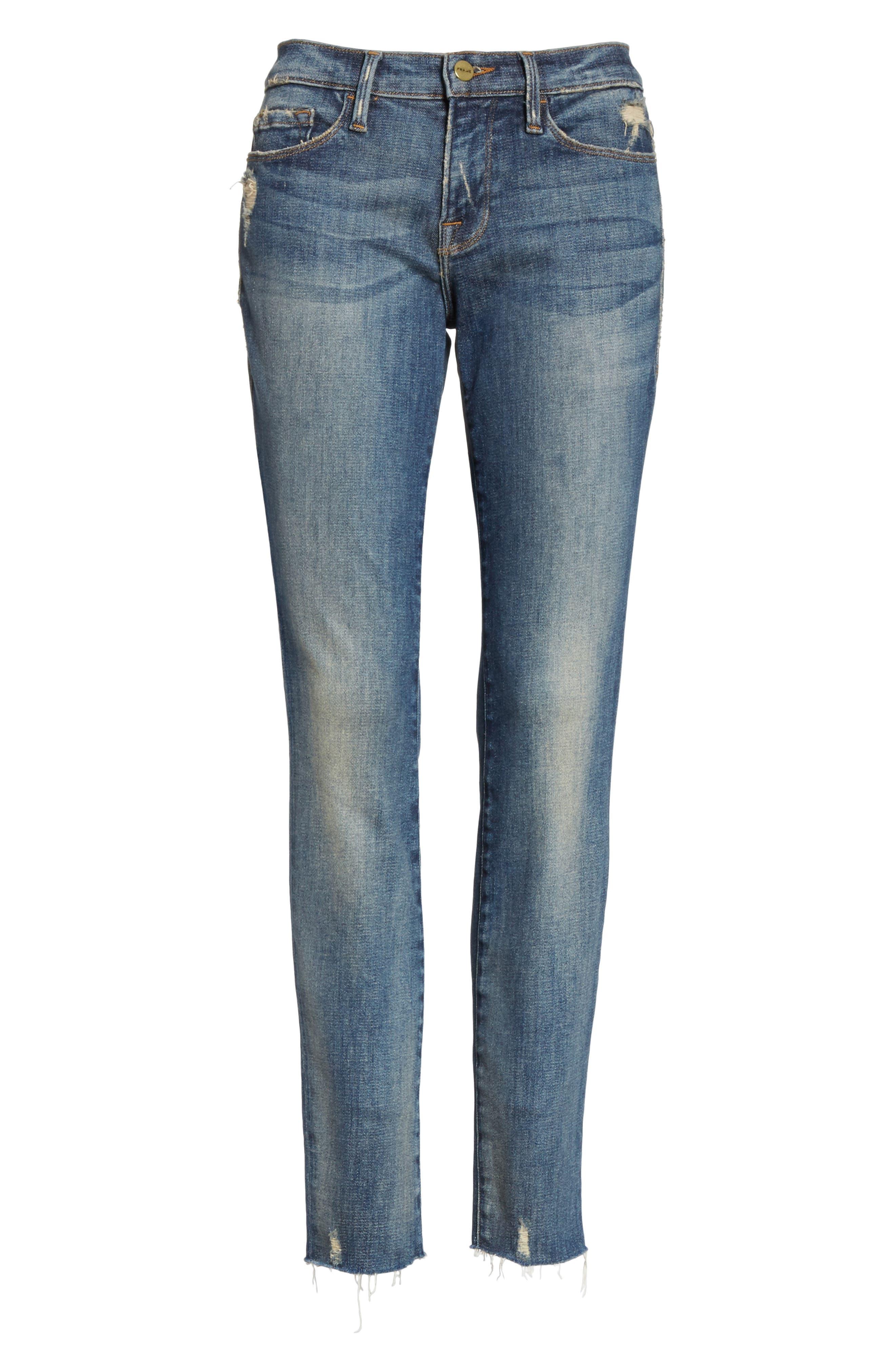 Le Skinny de Jeanne Raw Edge Skinny Jeans,                             Alternate thumbnail 6, color,                             401