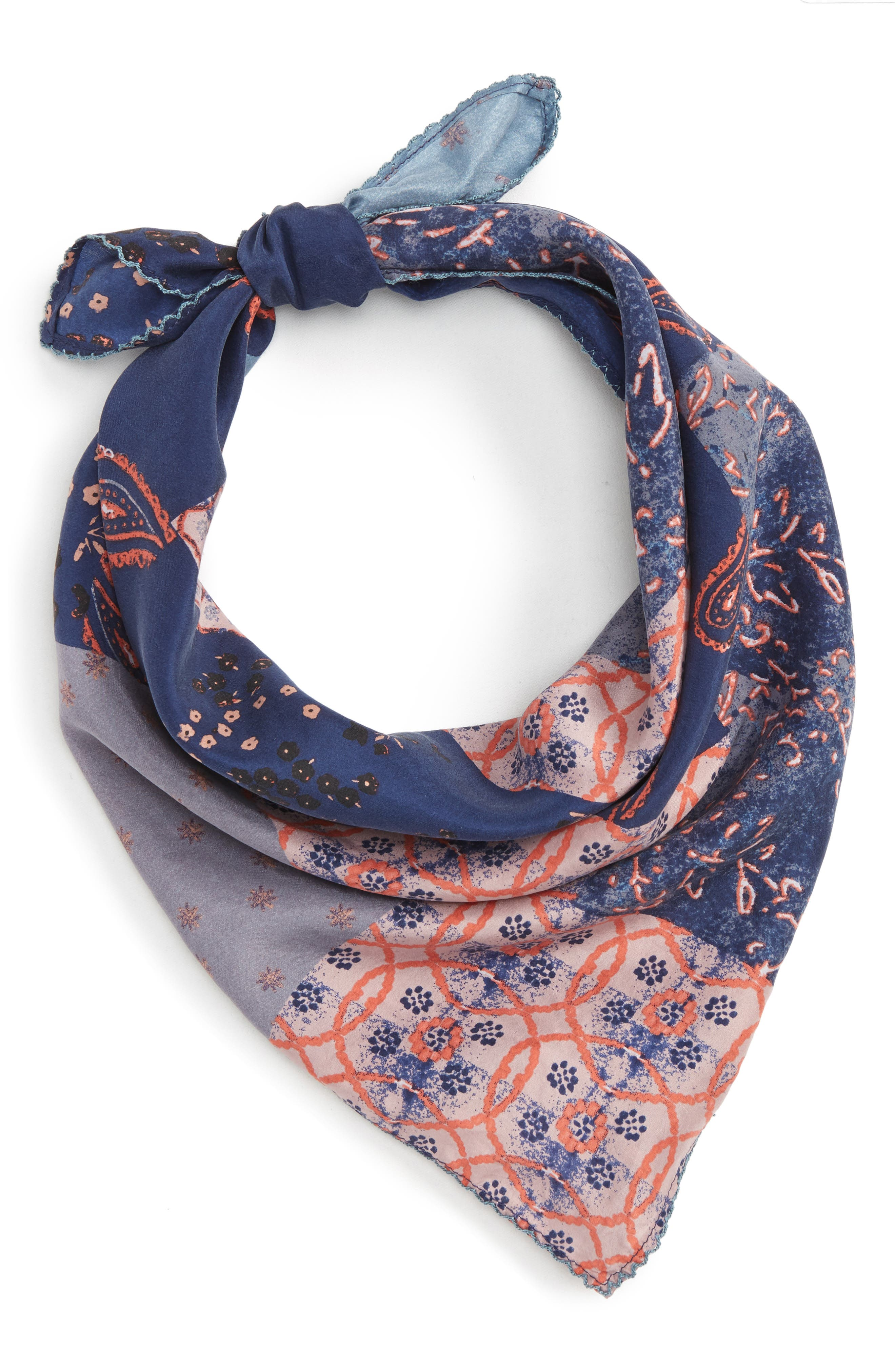 Paisley Meadow Square Silk Scarf,                             Alternate thumbnail 2, color,                             420