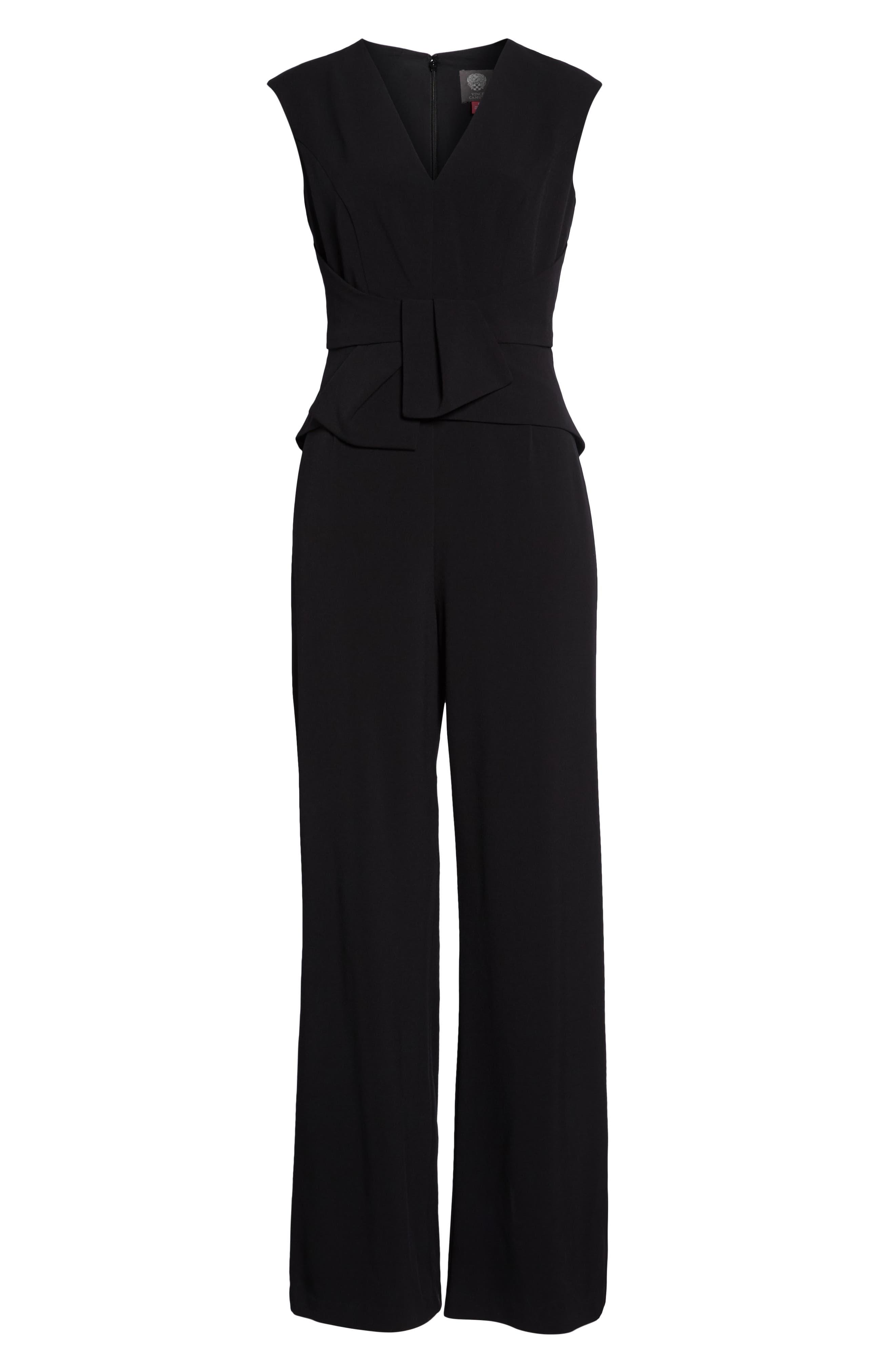 Peplum Jumpsuit,                             Alternate thumbnail 7, color,                             BLACK
