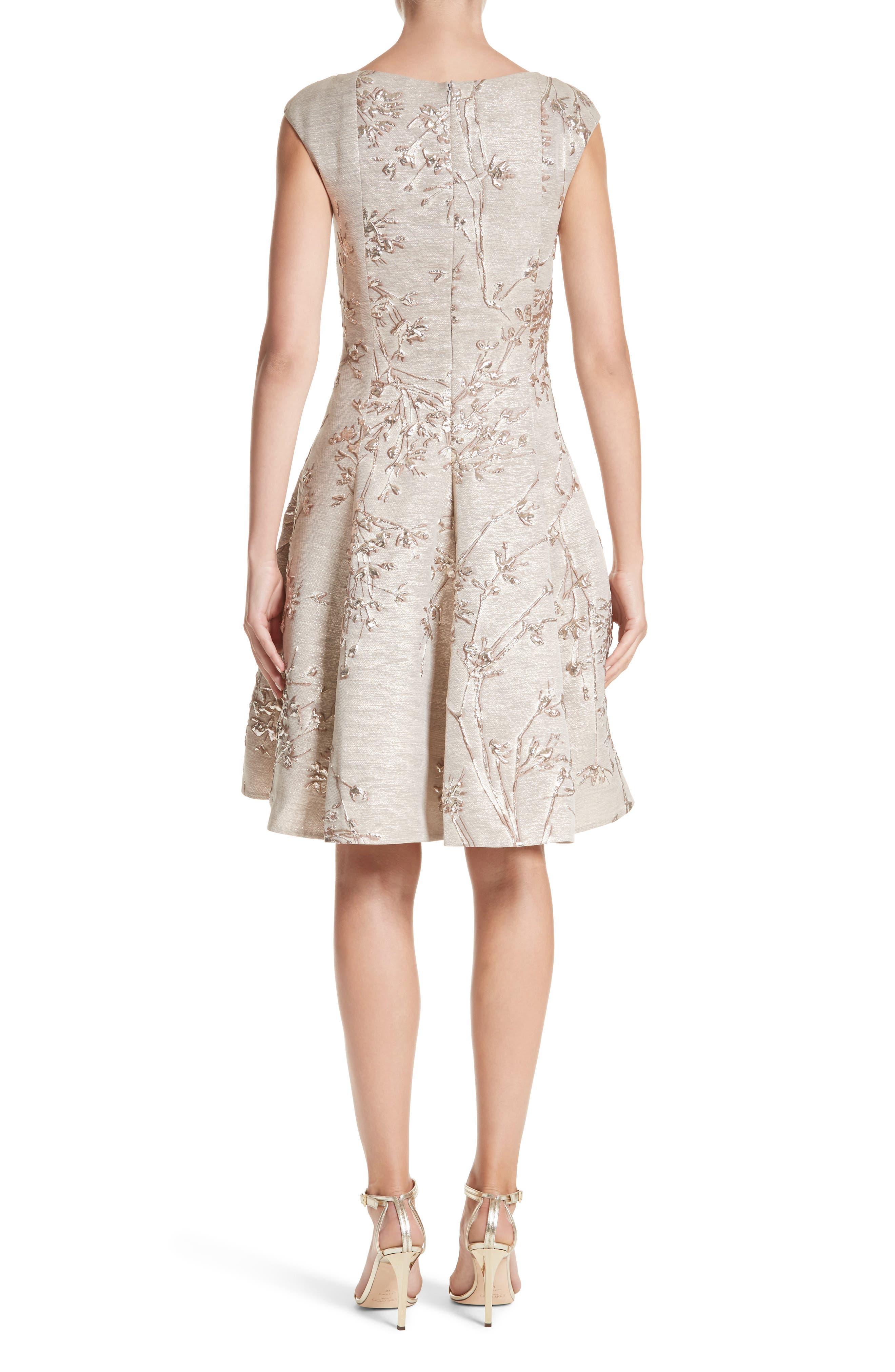 Metallic Twig Jacquard Dress,                             Alternate thumbnail 2, color,                             PLATIN