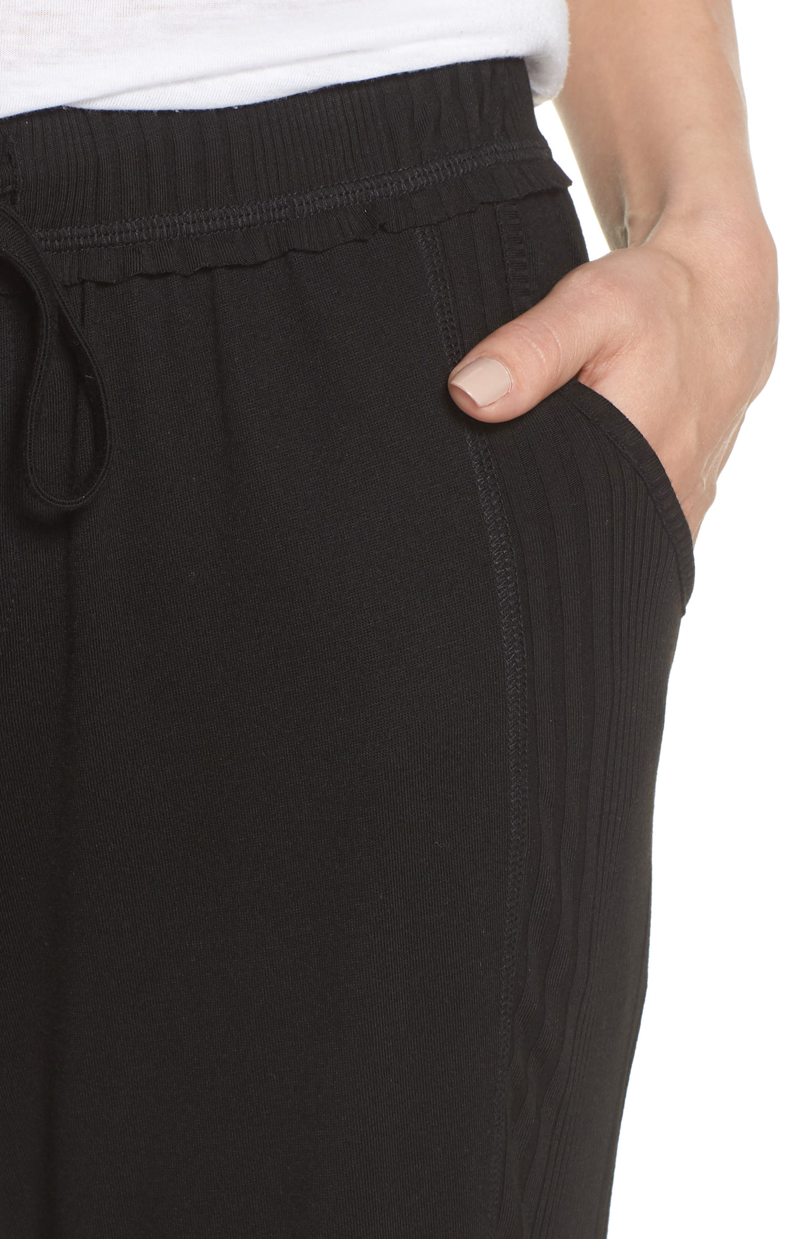 Crop Pajama Pants,                             Alternate thumbnail 4, color,                             BLACK