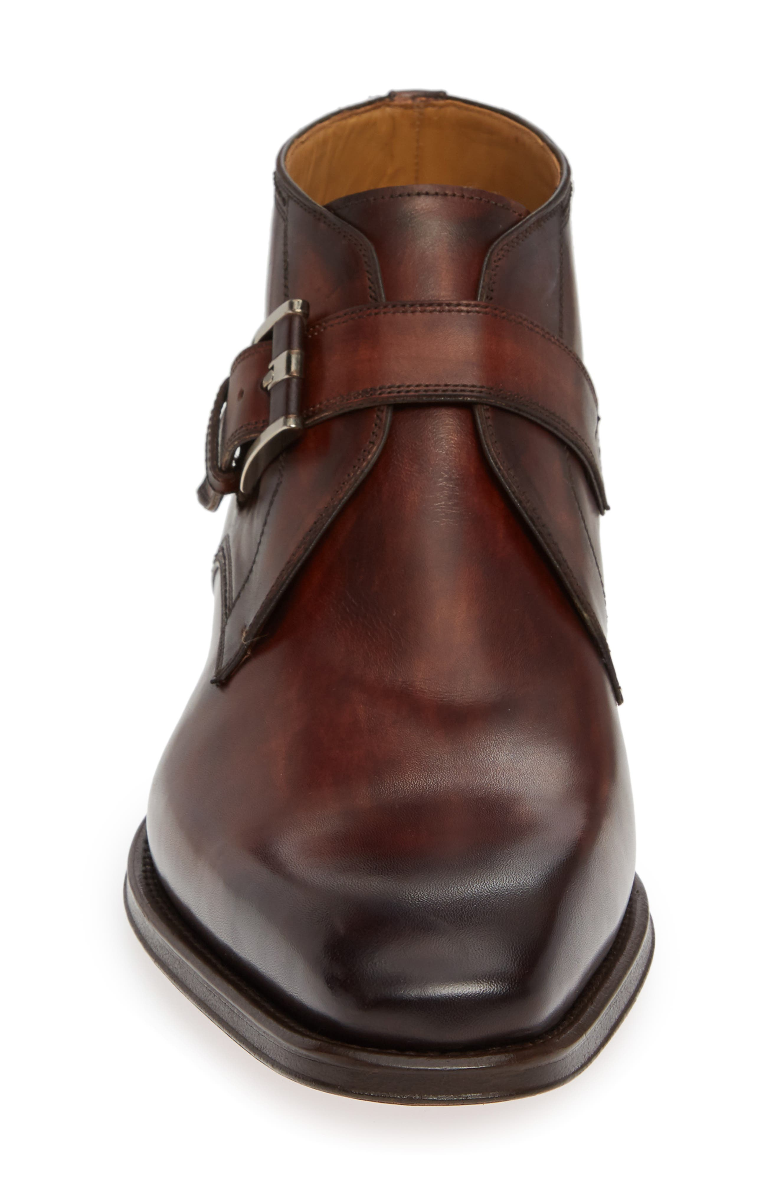 MAGNANNI,                             Luka Monk Strap Boot,                             Alternate thumbnail 4, color,                             MID BROWN LEATHER
