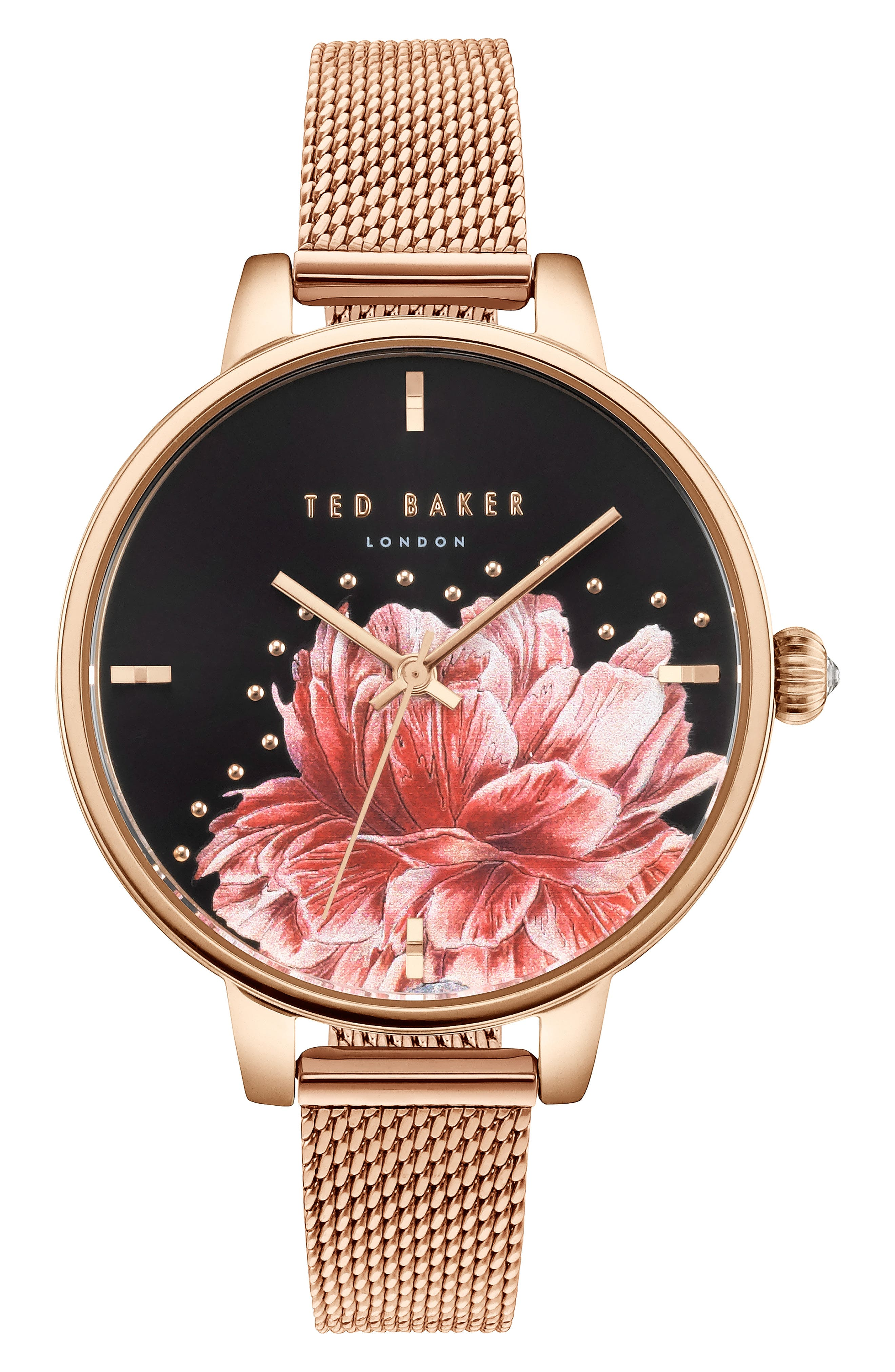 Kate Mesh Strap Watch, 36mm,                         Main,                         color, ROSE GOLD/ FLORAL/ ROSE GOLD