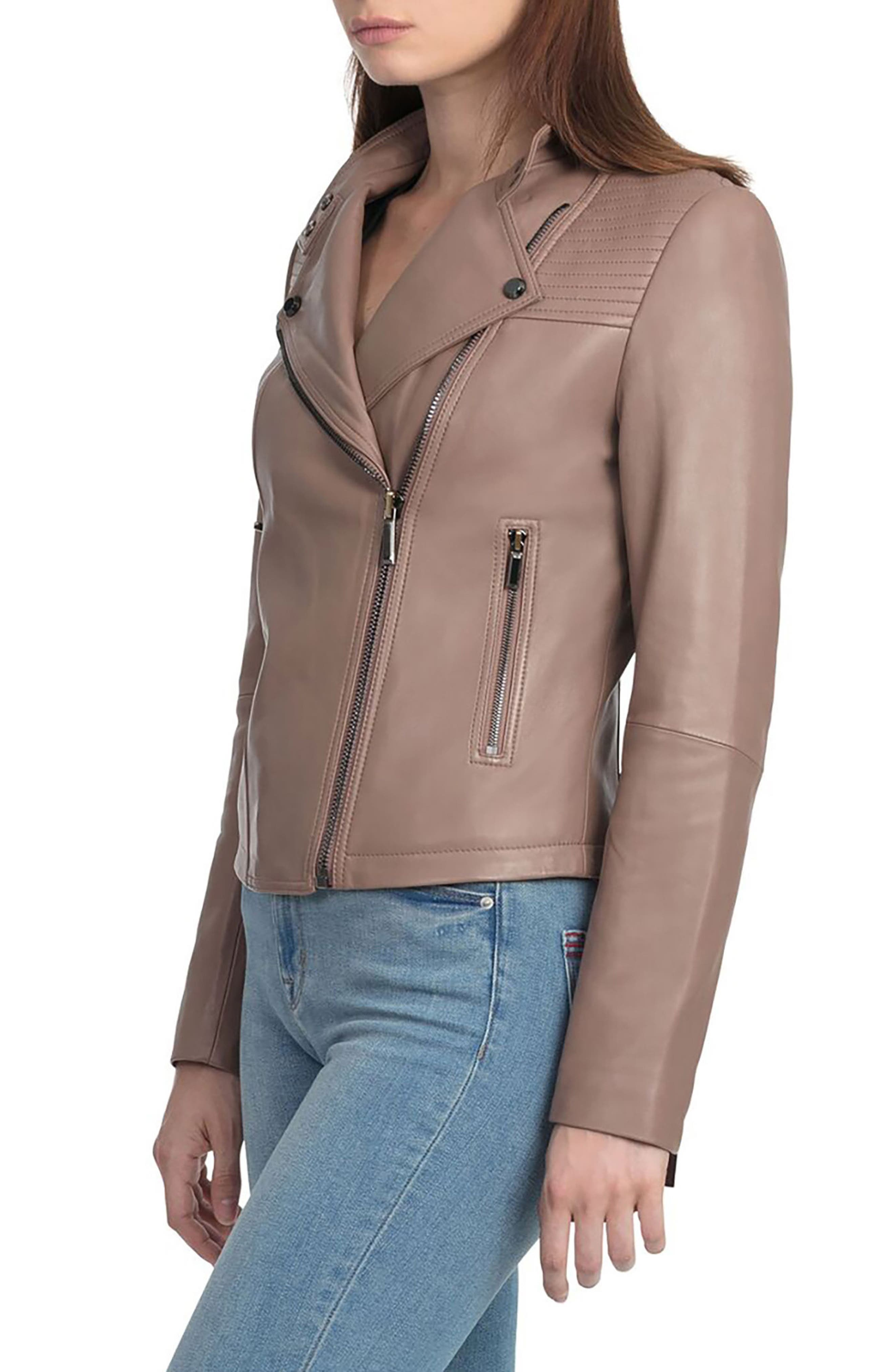 Bagatelle Quilted Lambskin Leather Moto Jacket,                             Alternate thumbnail 3, color,                             255