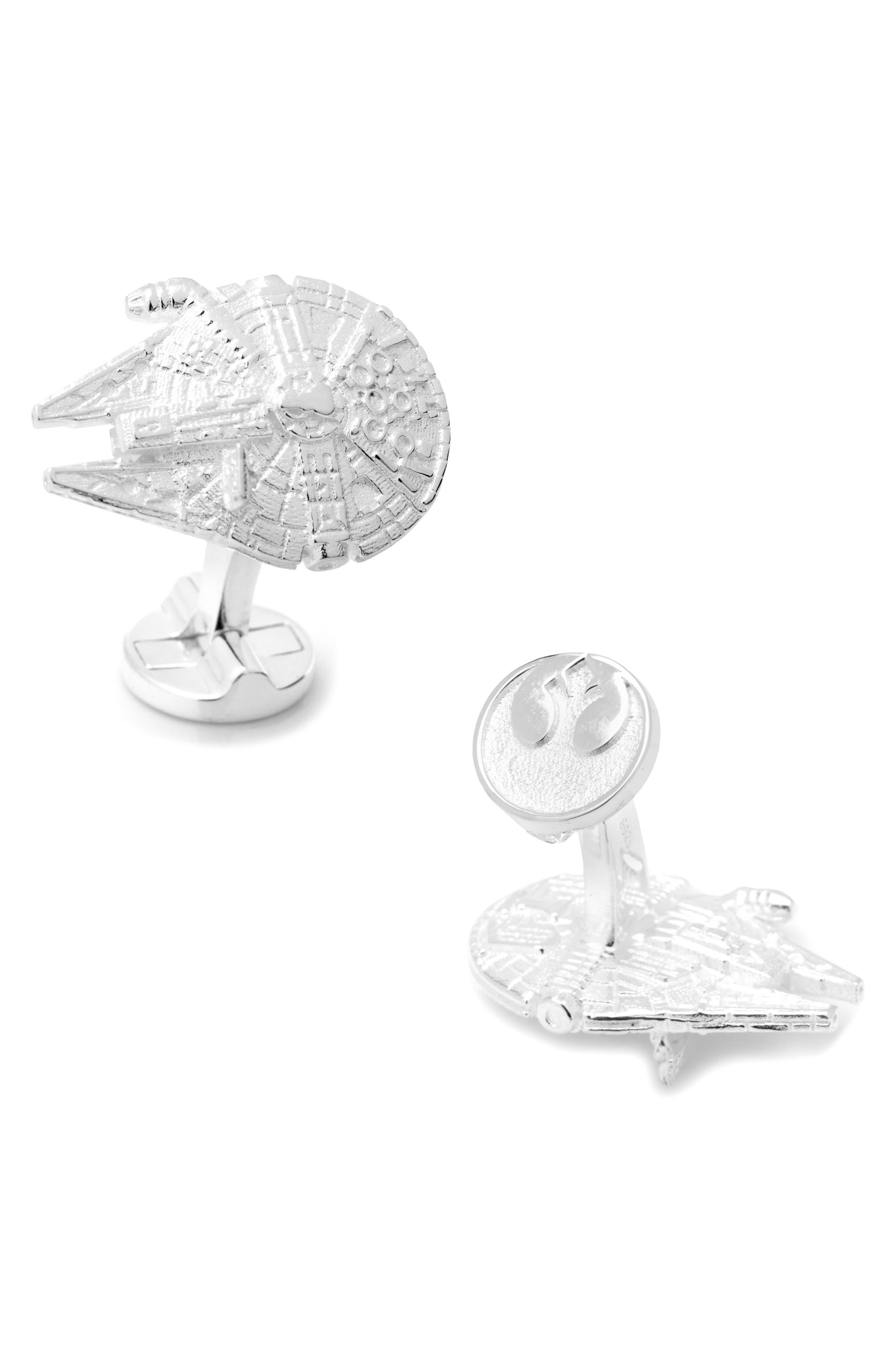 Star Wars<sup>™</sup> Millennium Falcon Cuff Links,                             Main thumbnail 1, color,                             SILVER