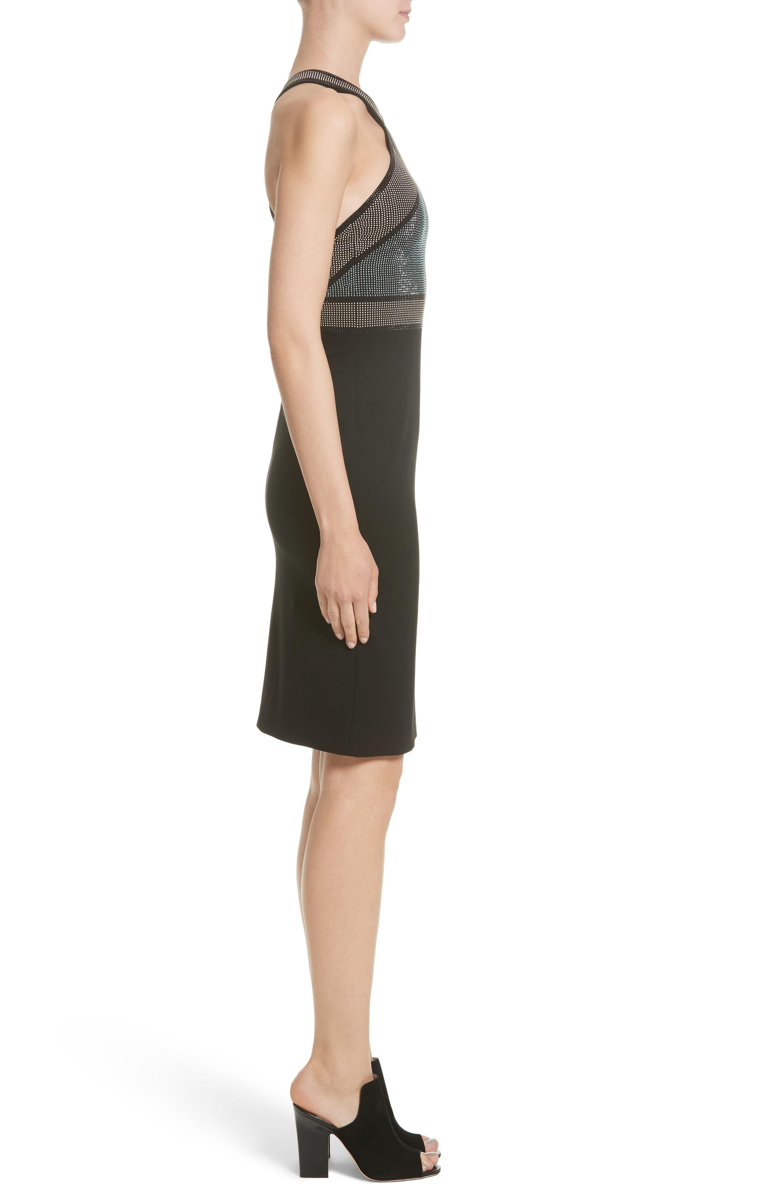 Rhinestone Halter Dress,                             Alternate thumbnail 4, color,                             001