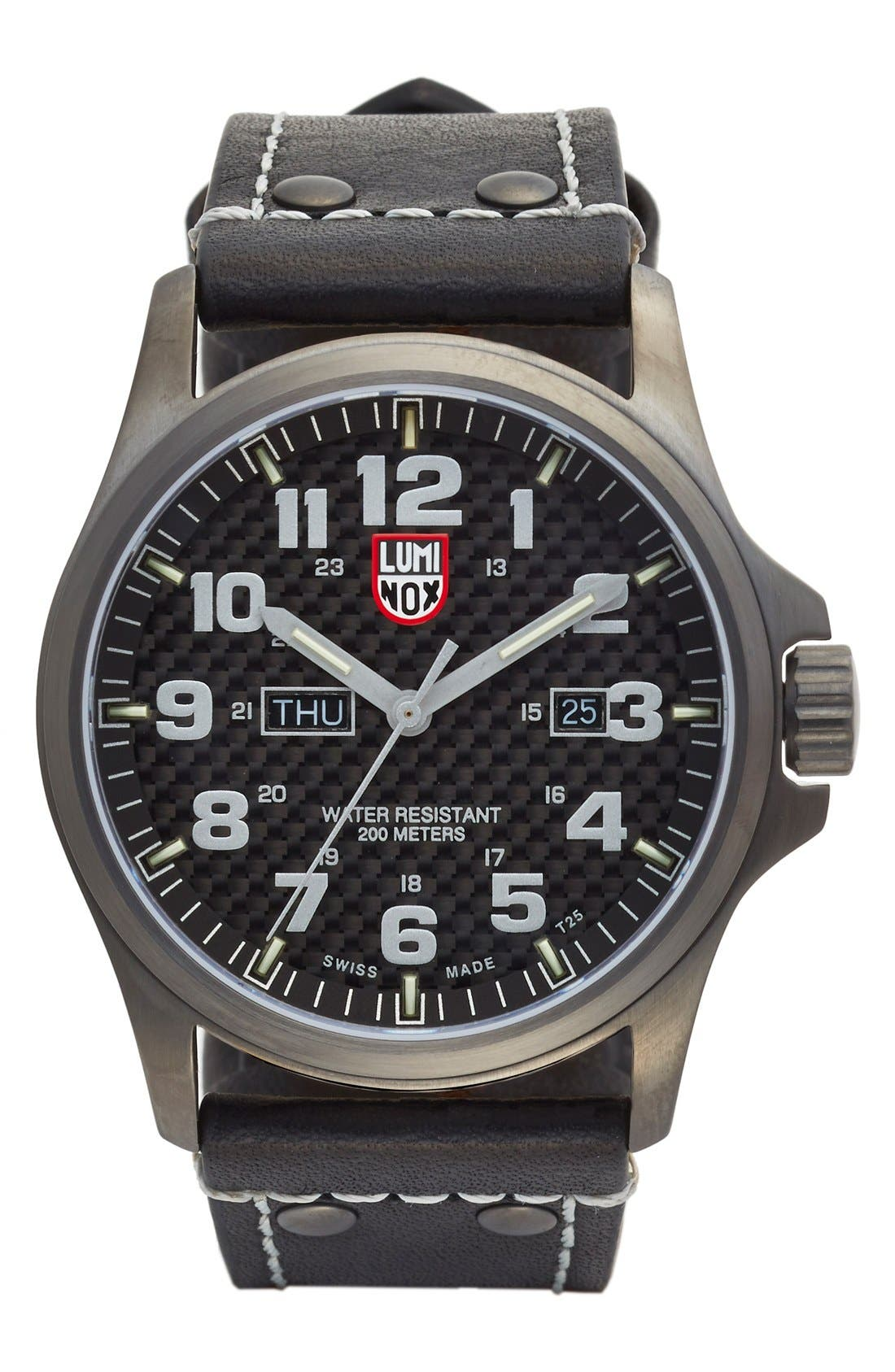 'Land - Atacama Field' Leather Strap Watch, 45mm,                             Main thumbnail 1, color,