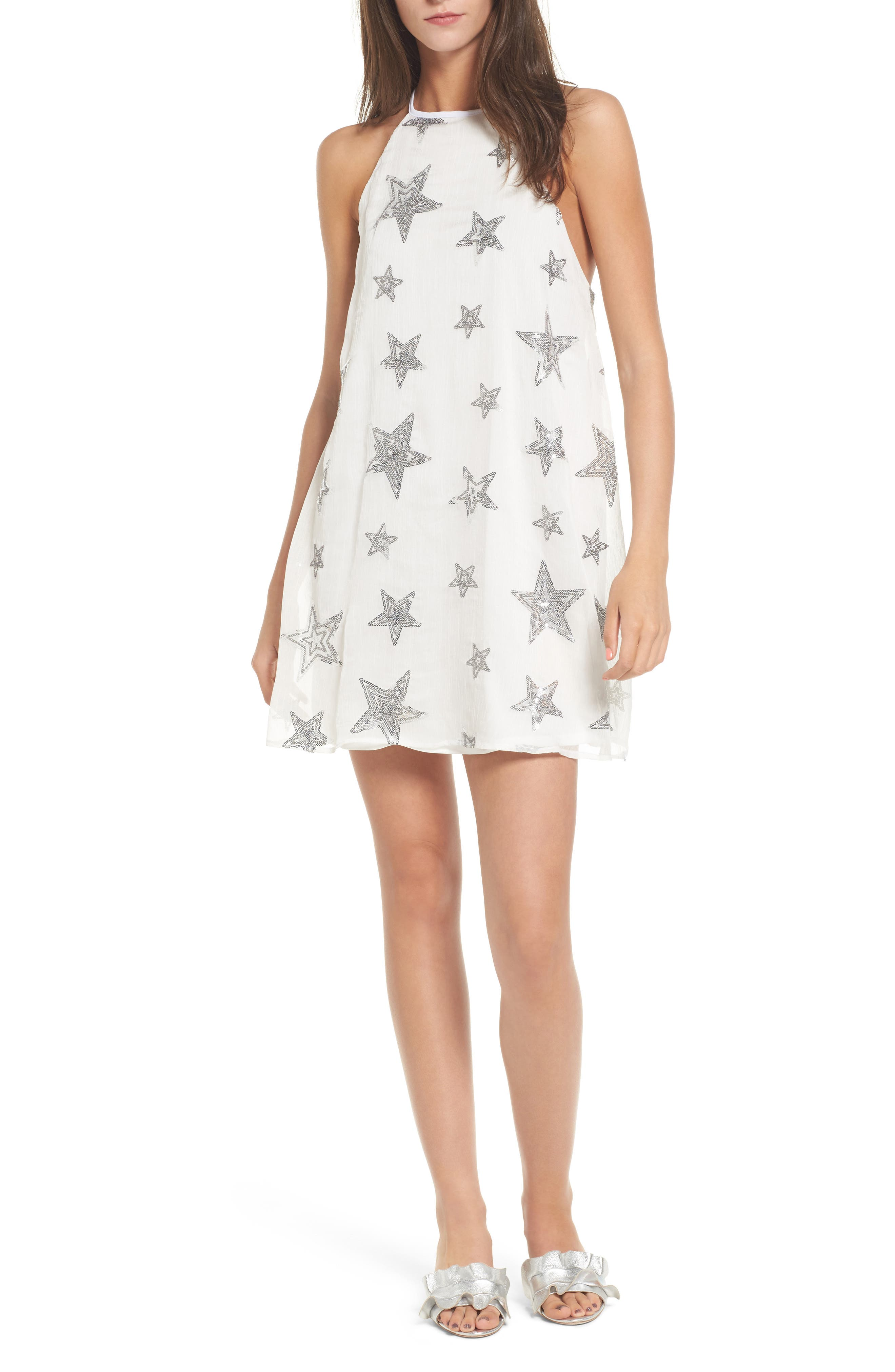 Gomez Embroidered Shift Dress,                         Main,                         color, 100