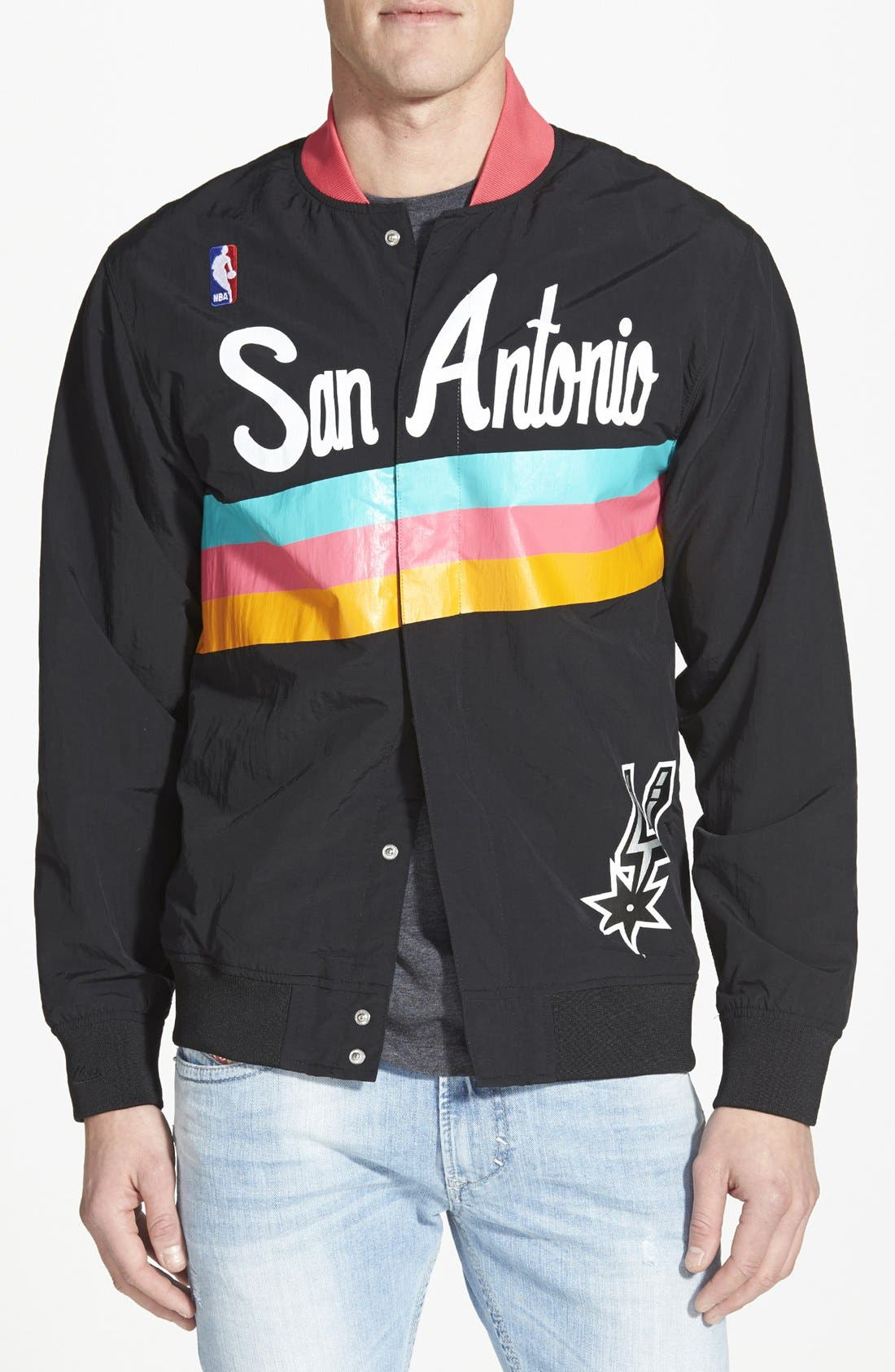 MITCHELL & NESS,                             'San Antonio Spurs' Warm-Up Jacket,                             Main thumbnail 1, color,                             001
