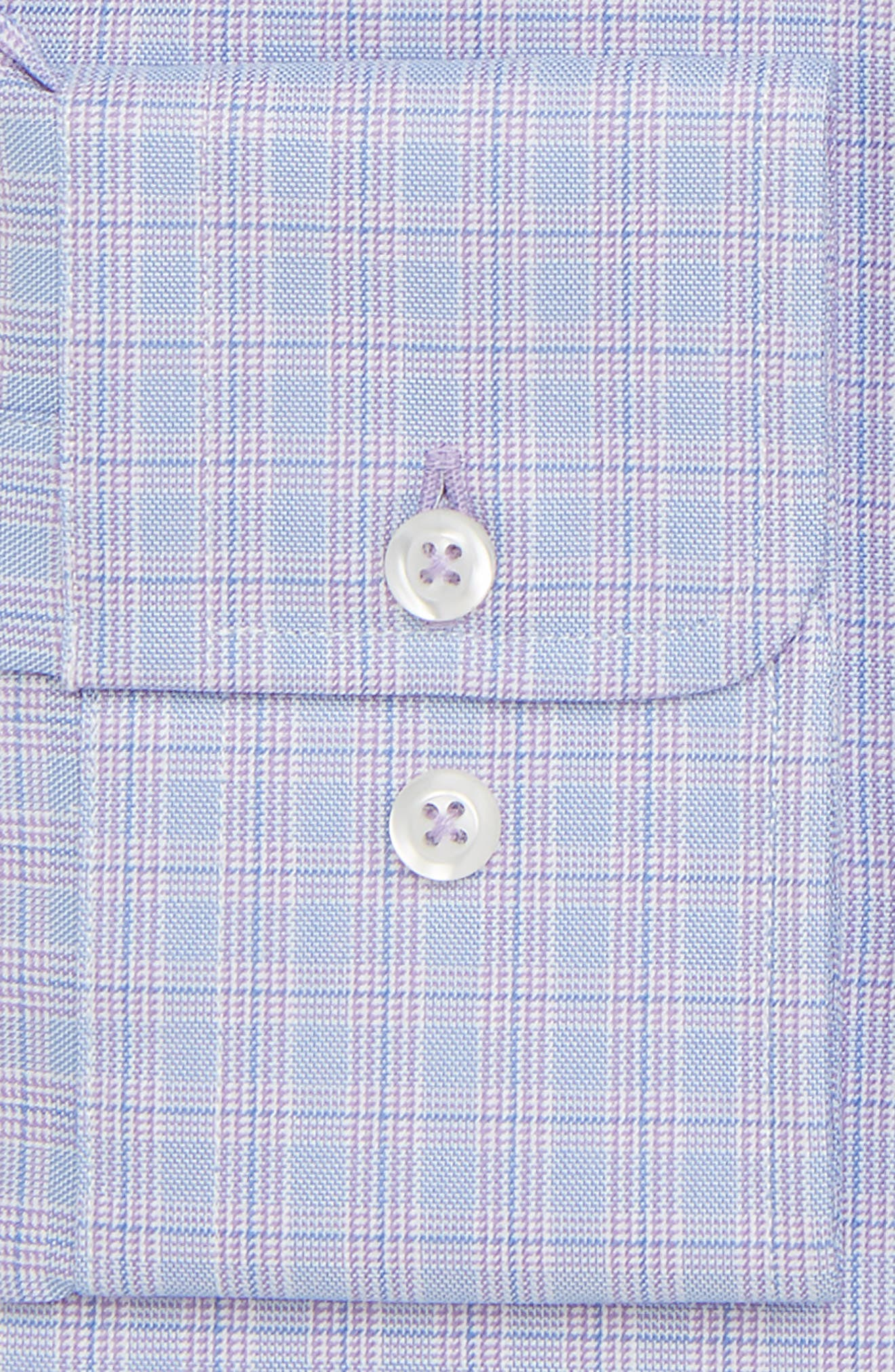 Trim Fit Plaid Dress Shirt,                             Alternate thumbnail 6, color,                             LILAC