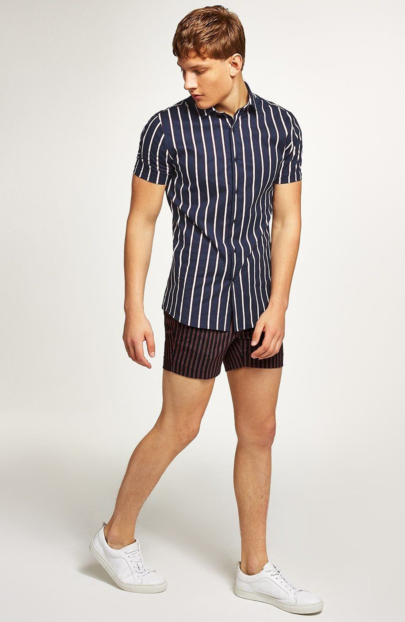 Muscle Fit Resort Stripe Shirt,                             Alternate thumbnail 5, color,                             411