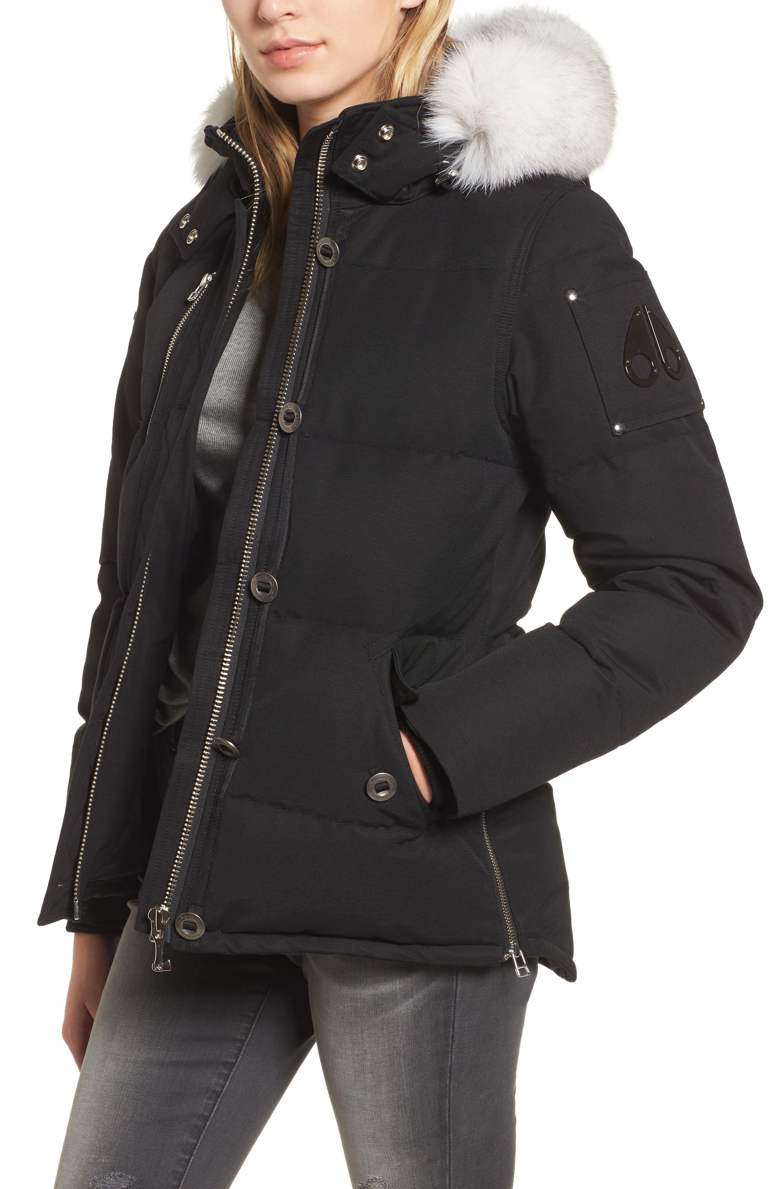 Genuine Fox Fur Trim Hooded Down Coat,                         Main,                         color, 009