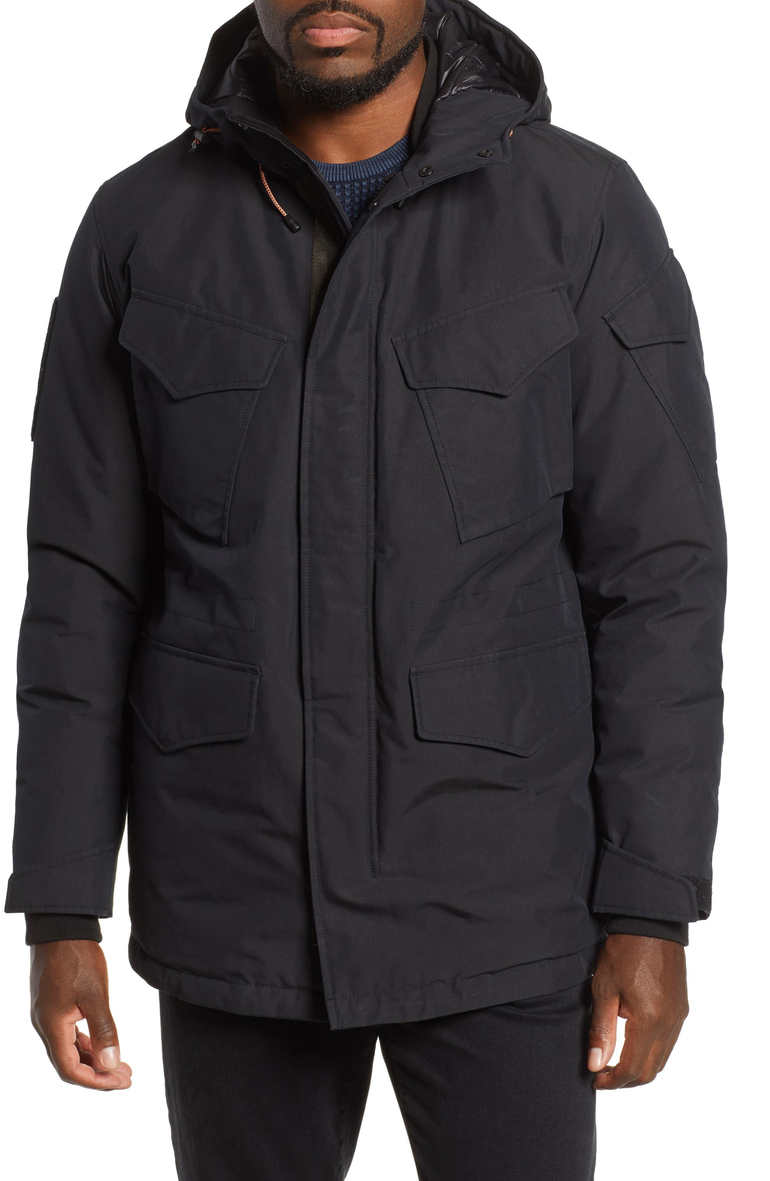 Regular Fit Surplus Down Jacket,                             Alternate thumbnail 4, color,                             BLACK