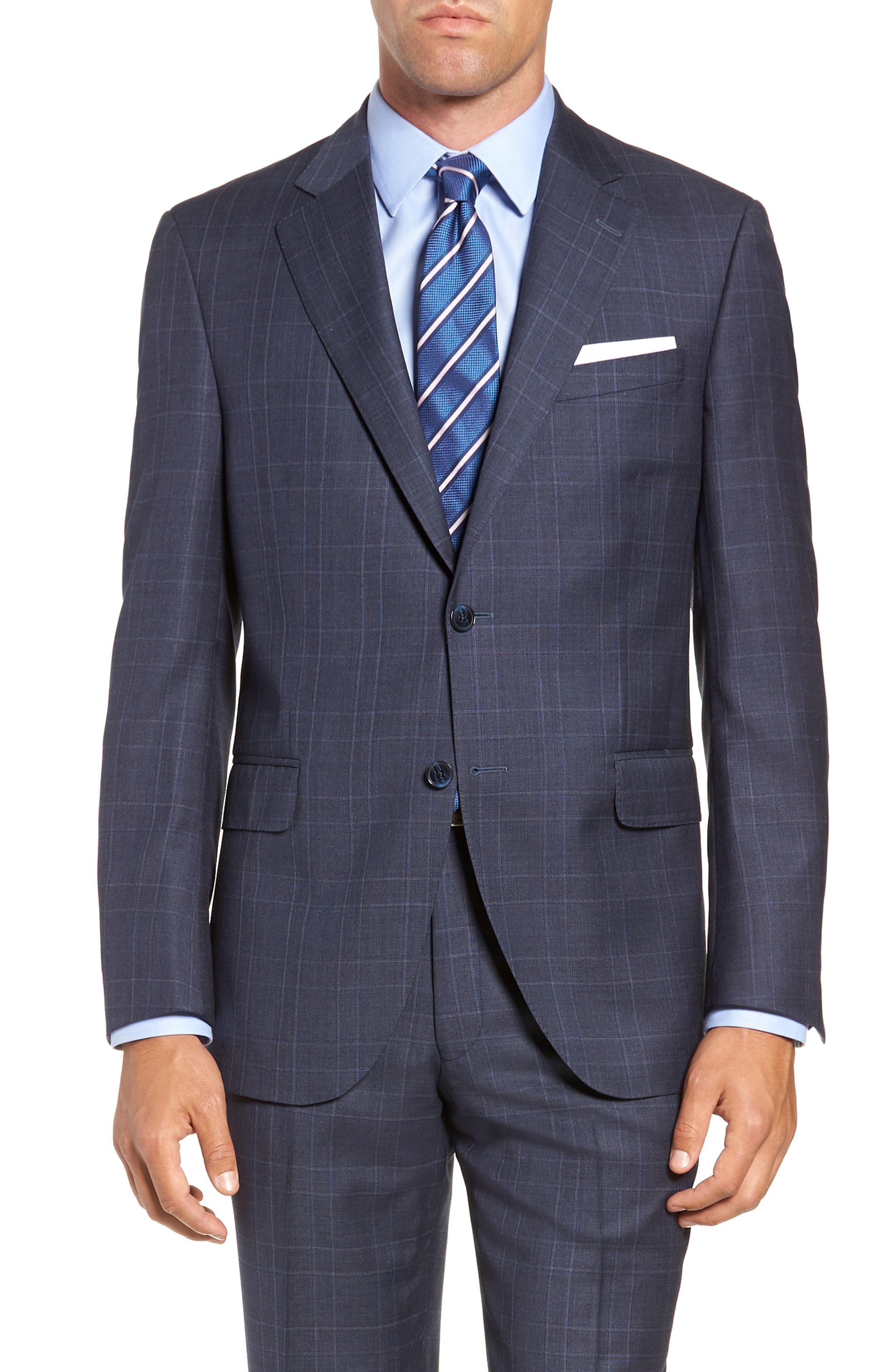 Flynn Classic Fit Plaid Wool Suit,                             Alternate thumbnail 5, color,                             BLUE