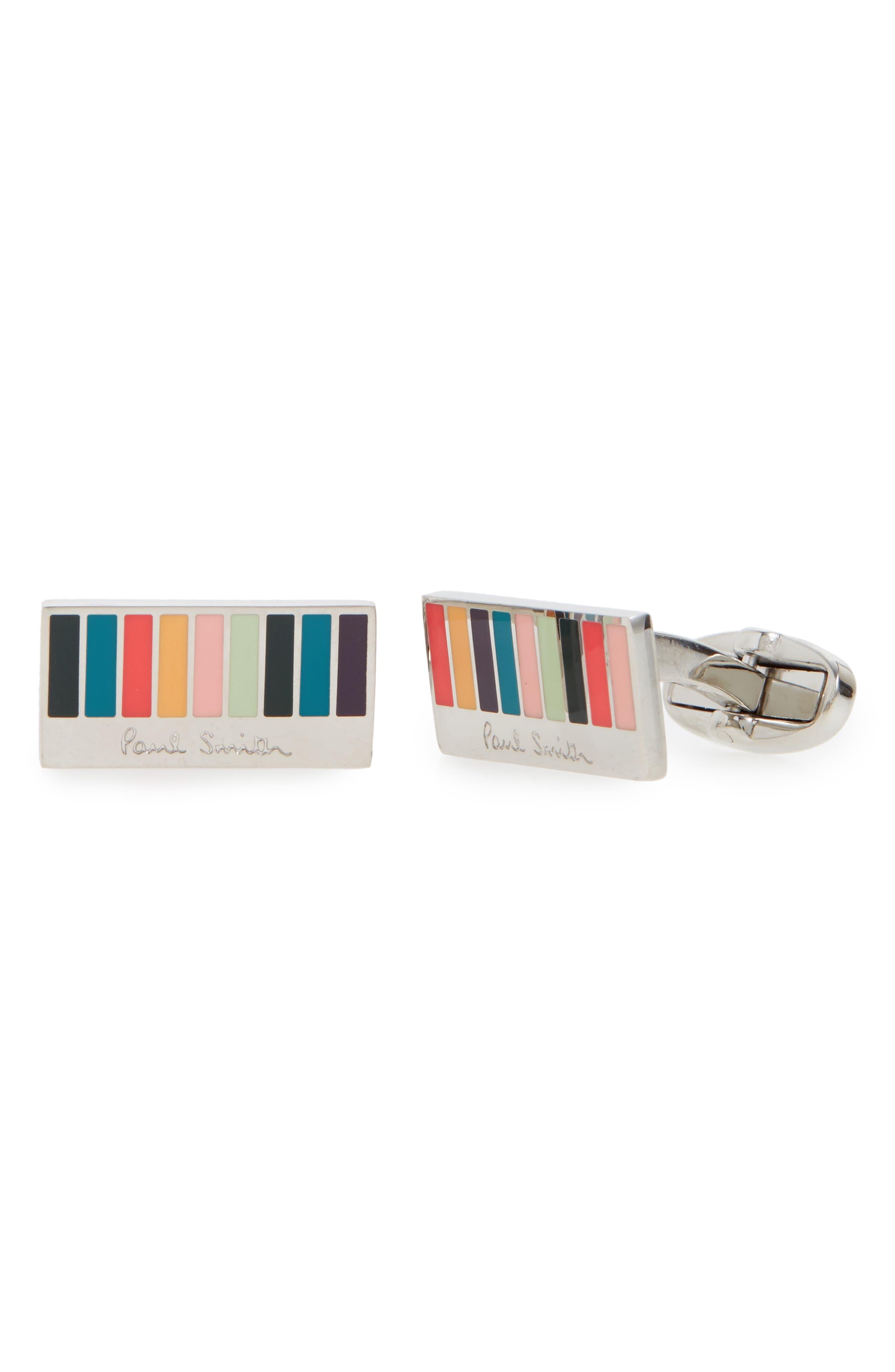 Ministripe Logo Cuff Links,                         Main,                         color, SILVER