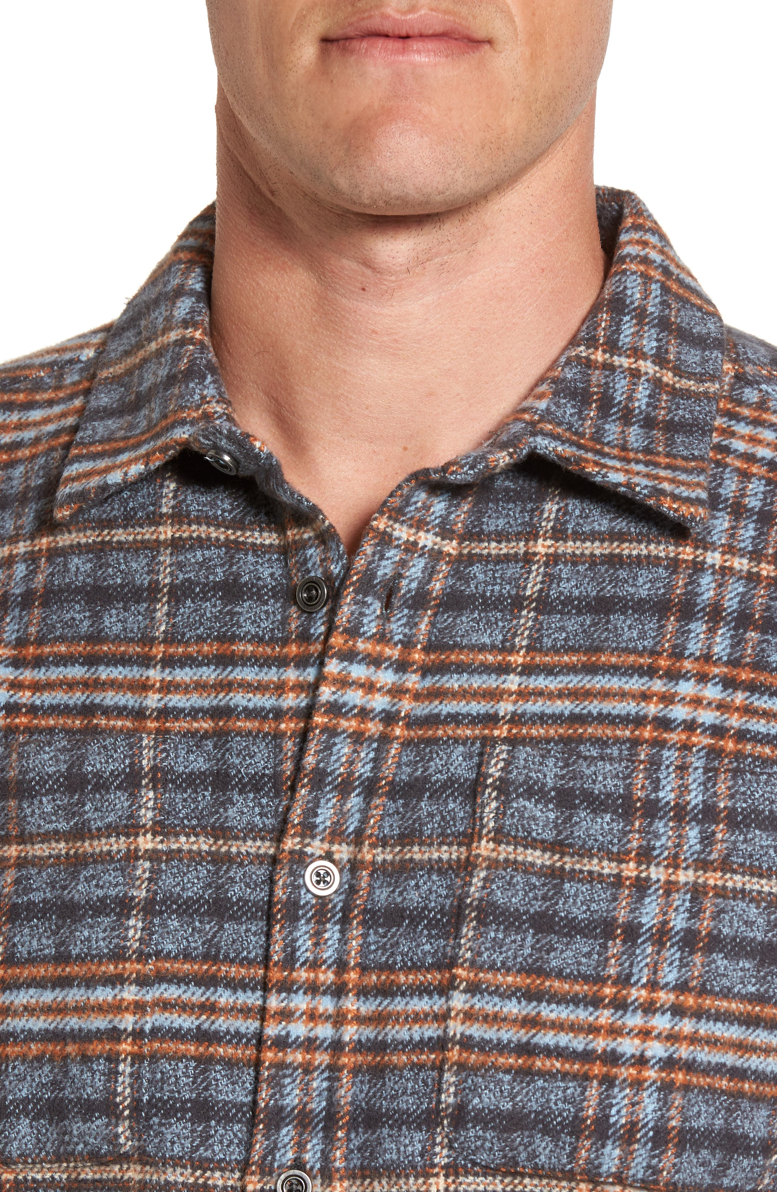 Brayden Regular Fit Plaid Flannel Shirt,                             Alternate thumbnail 7, color,