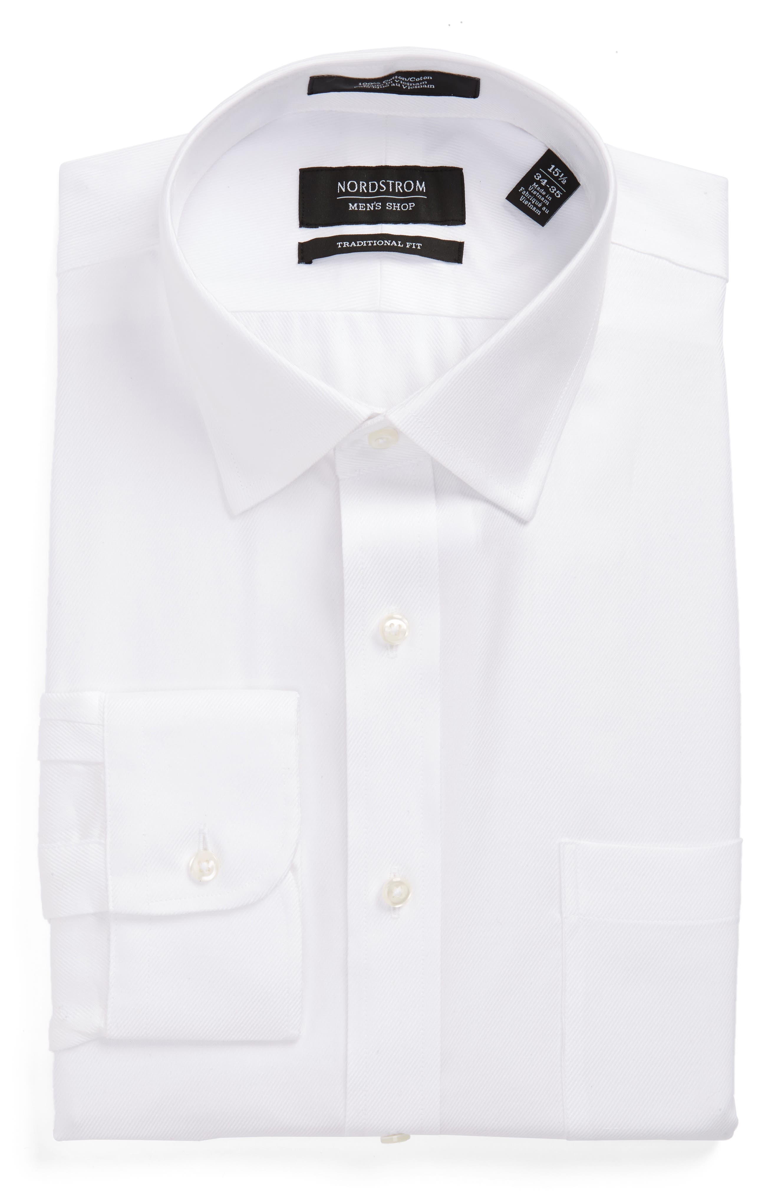 Traditional Fit Solid Dress Shirt,                             Alternate thumbnail 3, color,                             WHITE