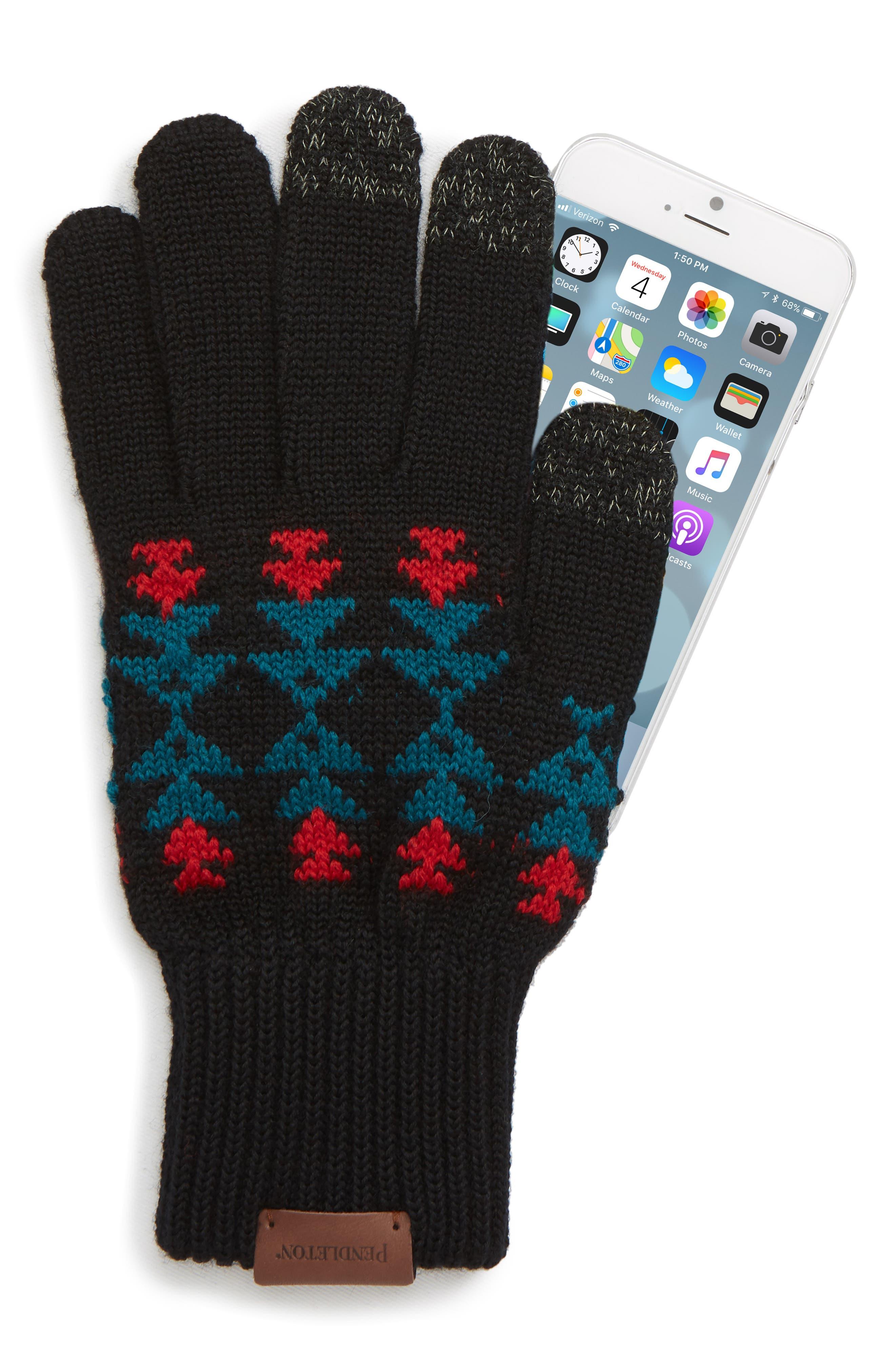 Jacquard Texting Gloves,                             Alternate thumbnail 2, color,                             BLACK