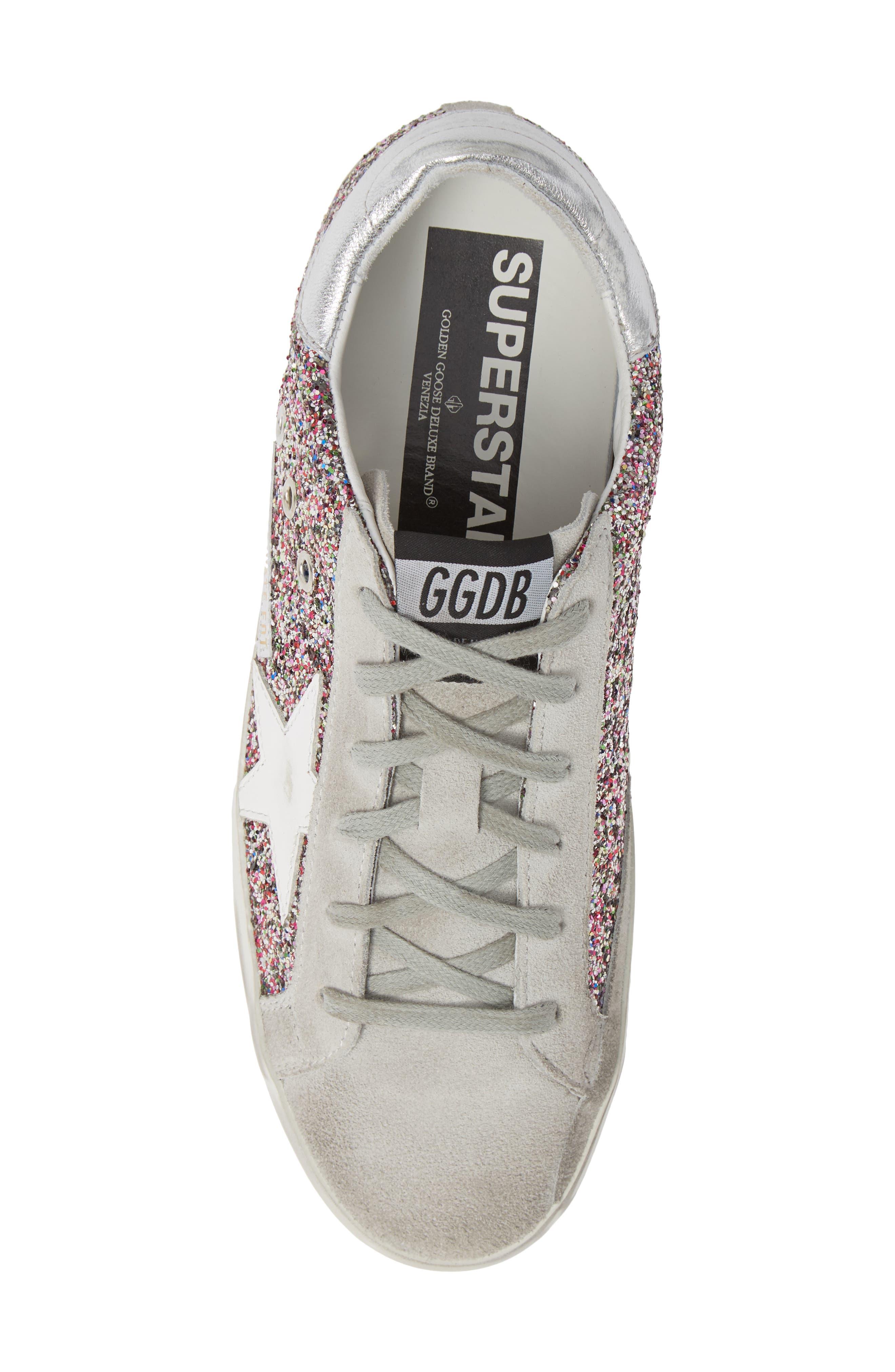 Superstar Glitter Sneaker,                             Alternate thumbnail 5, color,                             PINK MULTI/ GREY