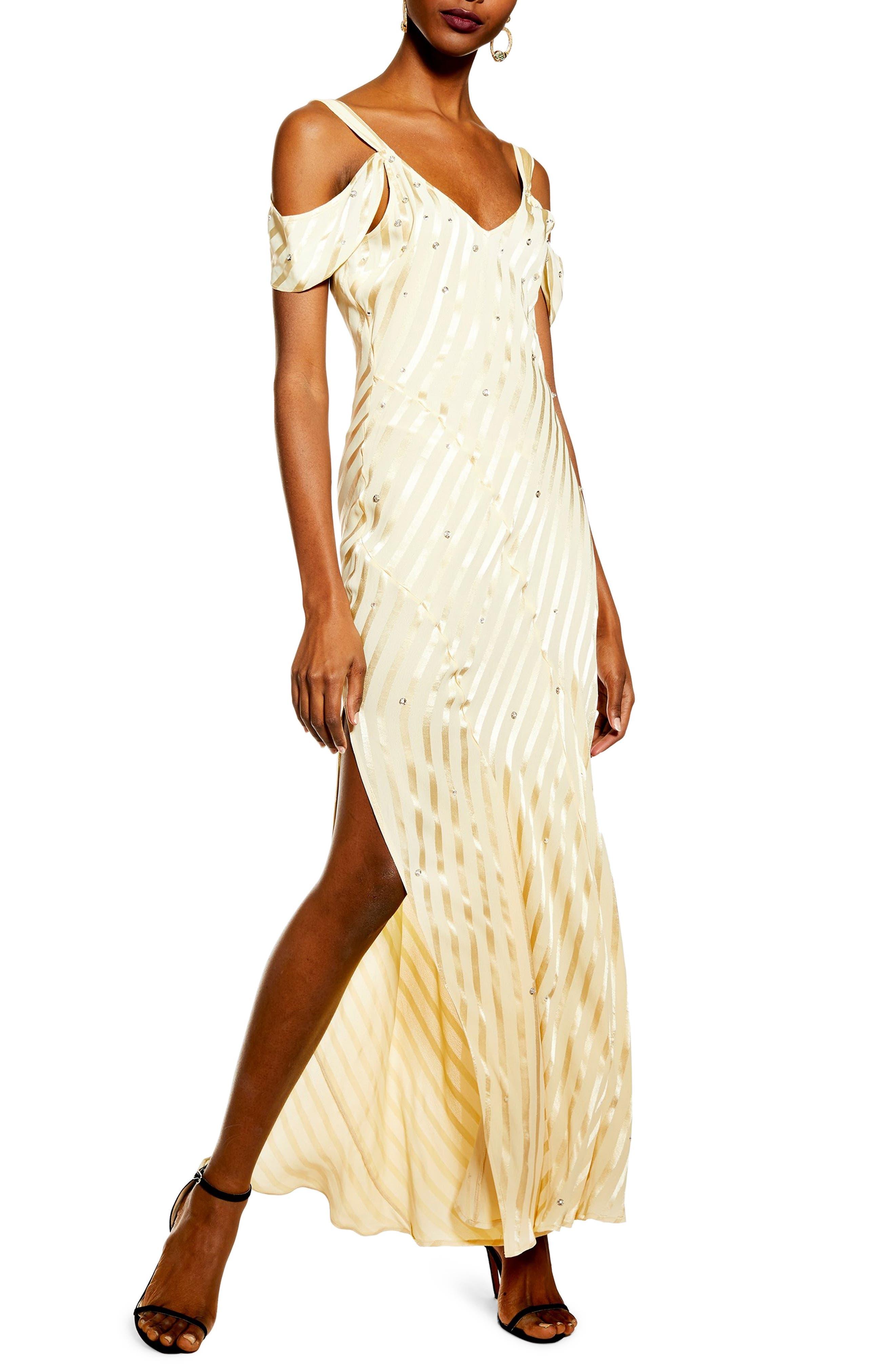Topshop Stripe Diamante Cold-Shoulder Maxi Dress, US (fits like 2-4) - Yellow
